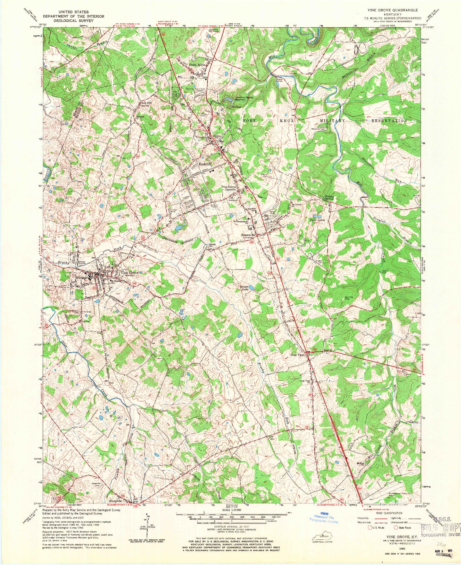 USGS 1:24000-SCALE QUADRANGLE FOR VINE GROVE, KY 1960