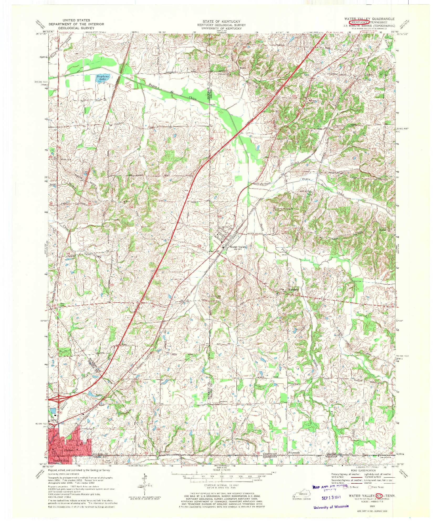 USGS 1:24000-SCALE QUADRANGLE FOR WATER VALLEY, KY 1969