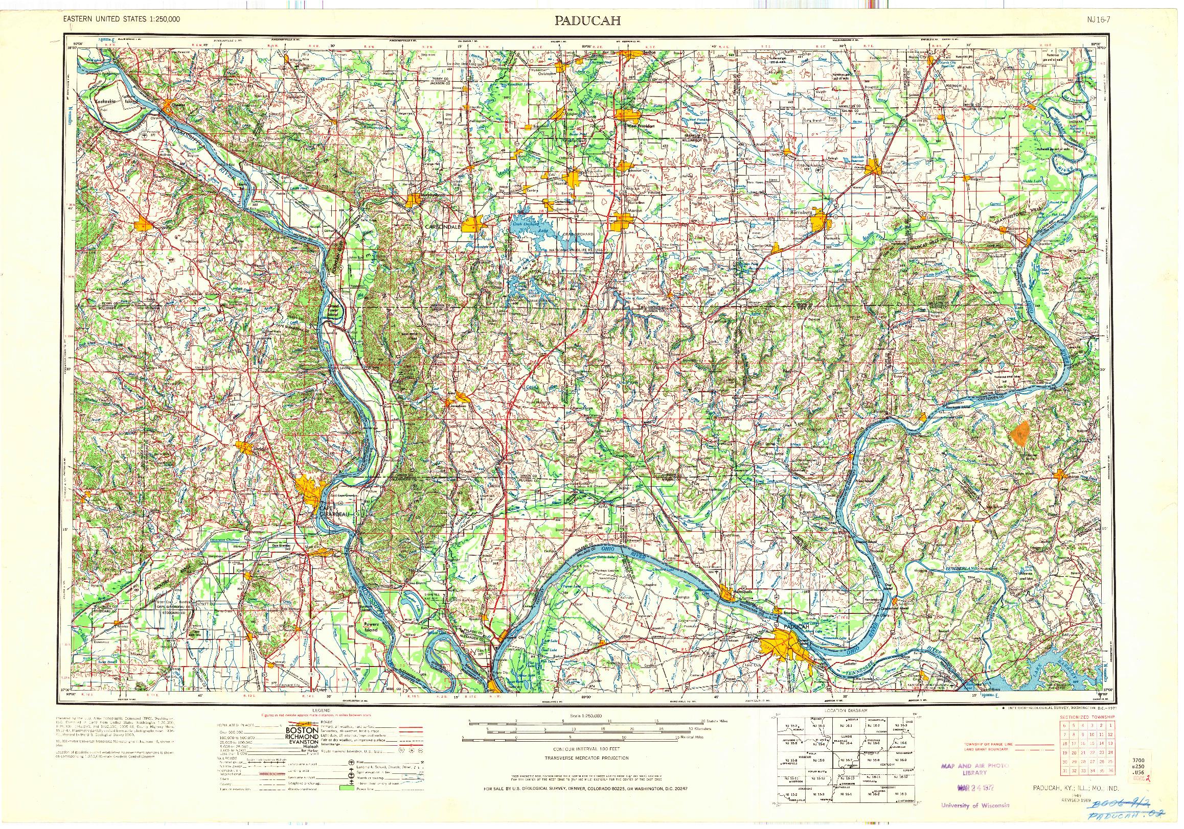 USGS 1:250000-SCALE QUADRANGLE FOR PADUCAH, KY 1949