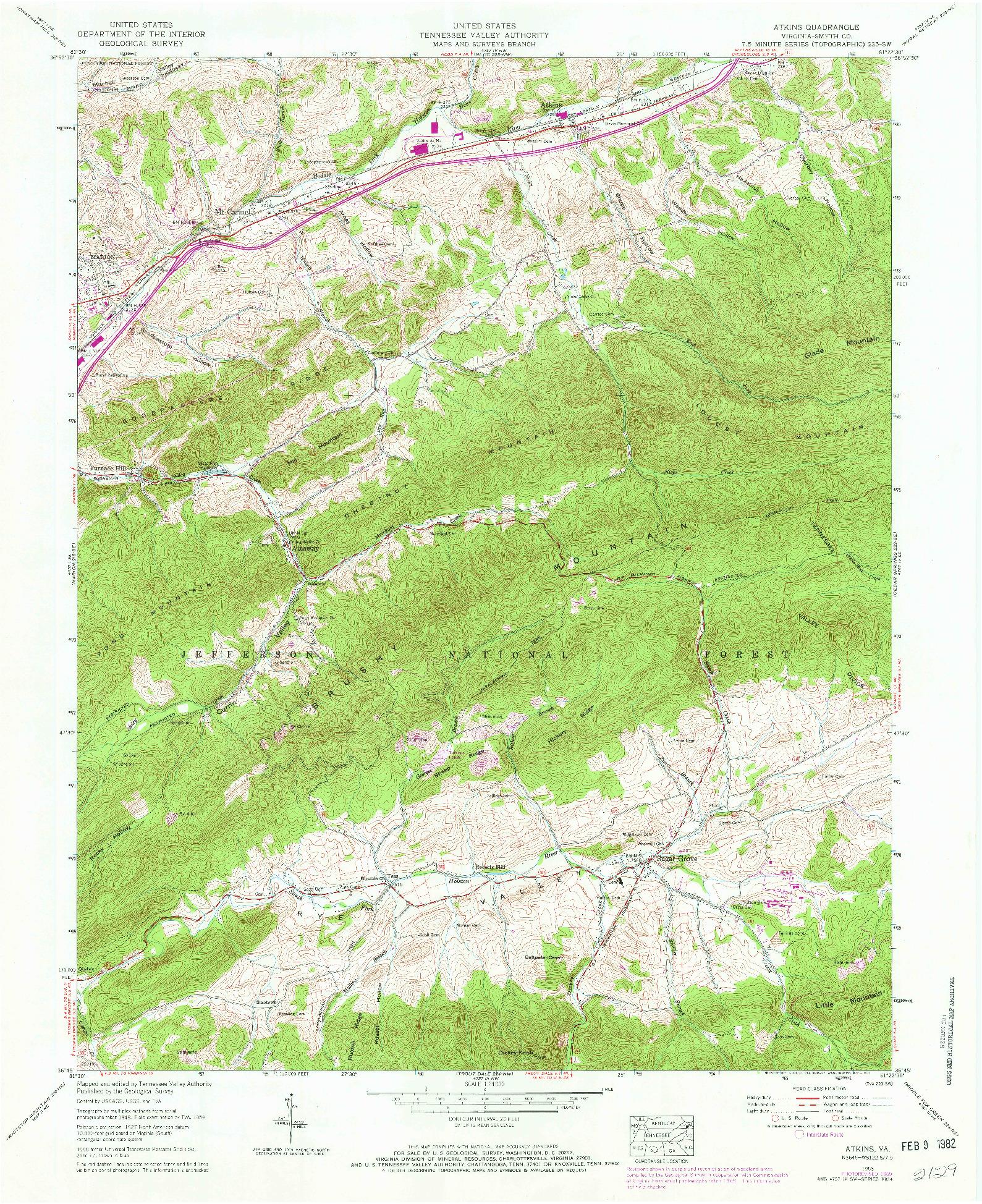 USGS 1:24000-SCALE QUADRANGLE FOR ATKINS, VA 1958
