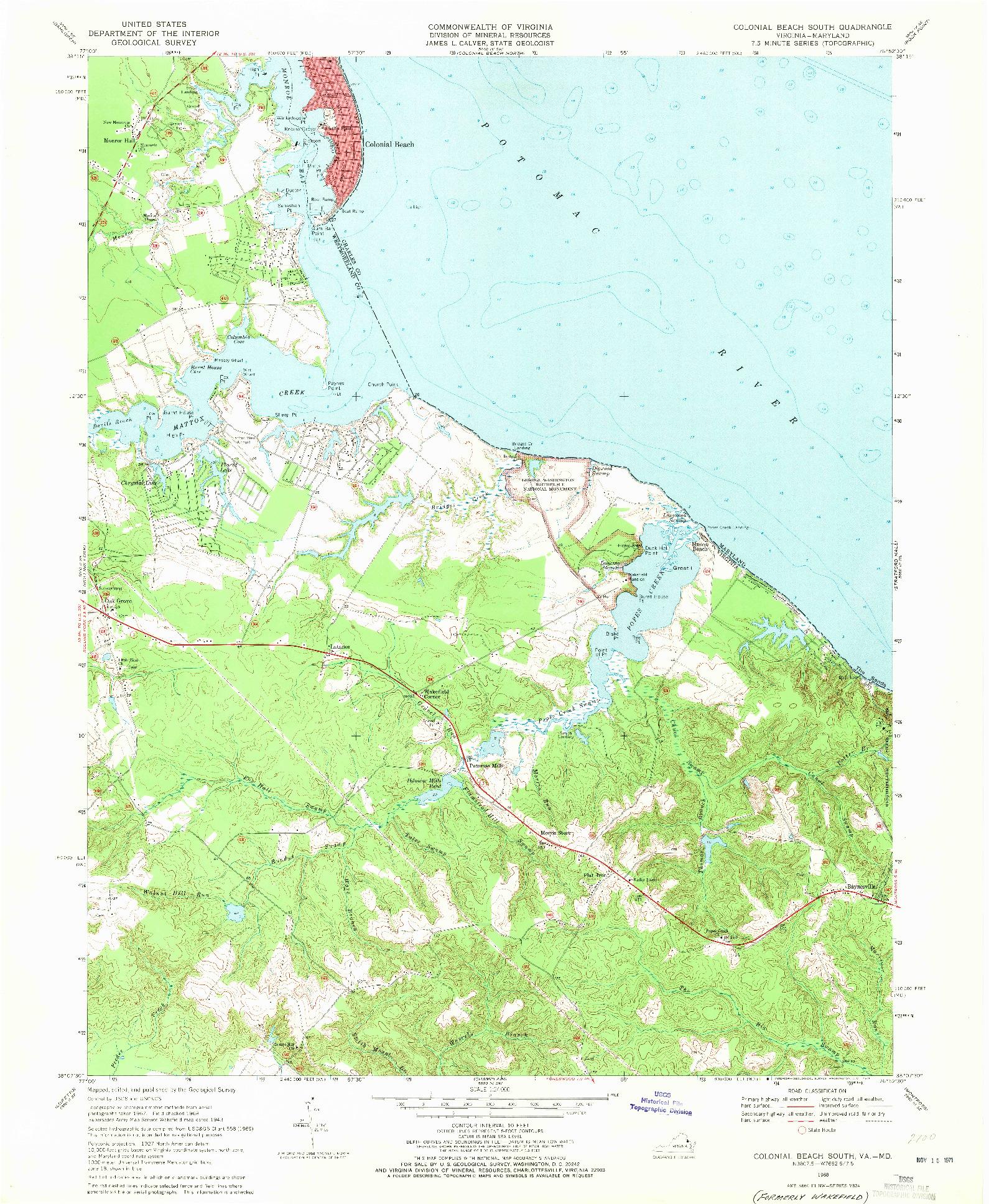 USGS 1:24000-SCALE QUADRANGLE FOR COLONIAL BEACH SOUTH, VA 1968