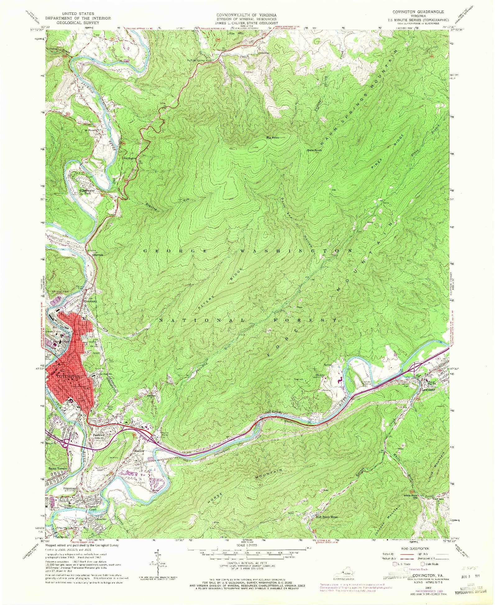 USGS 1:24000-SCALE QUADRANGLE FOR COVINGTON, VA 1962