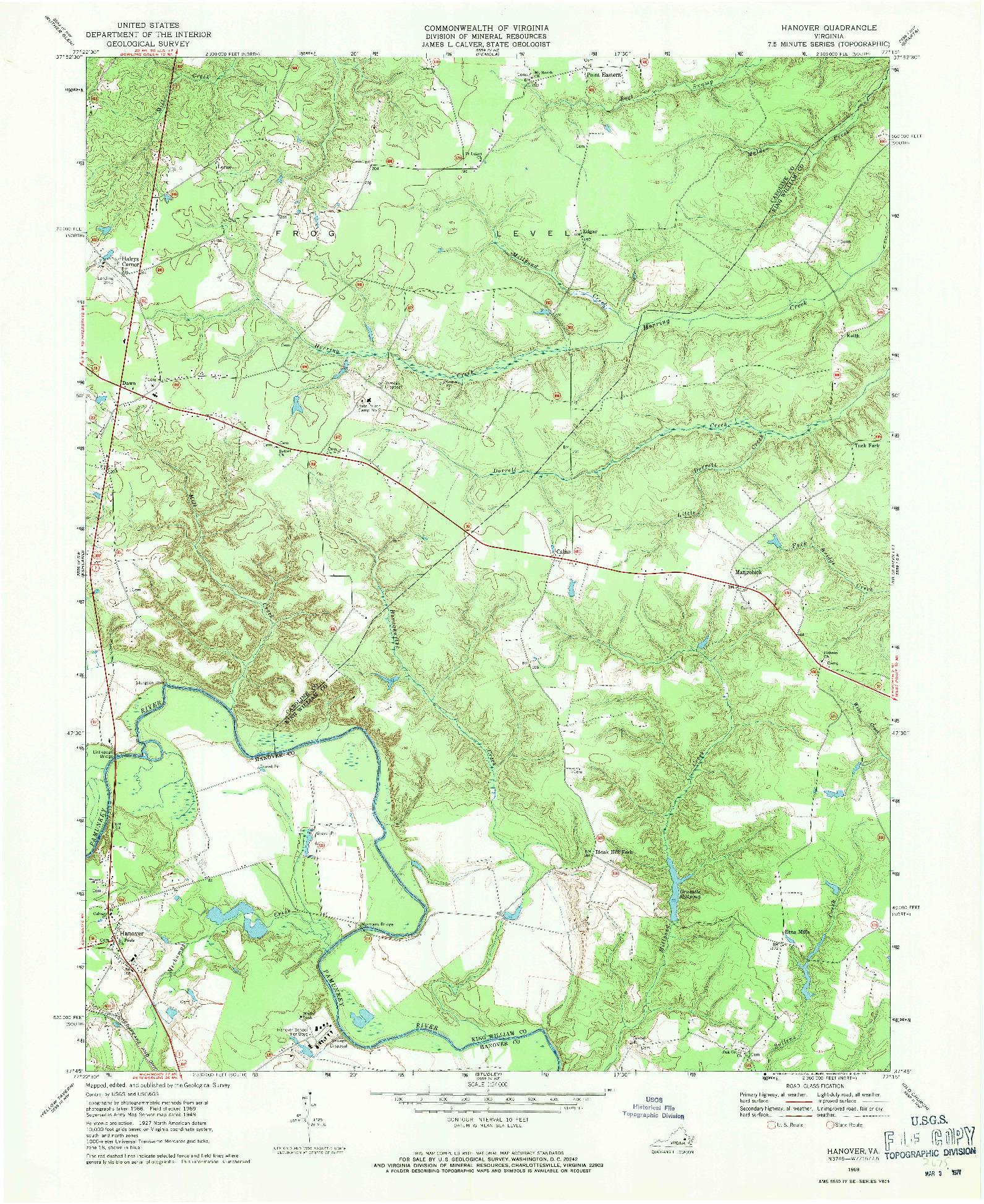 USGS 1:24000-SCALE QUADRANGLE FOR HANOVER, VA 1969