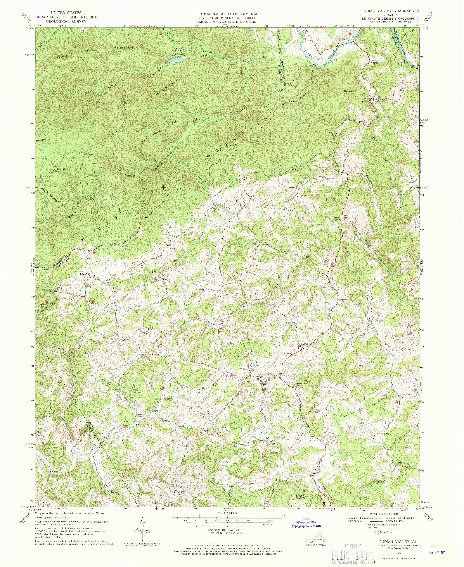 USGS 1:24000-SCALE QUADRANGLE FOR INDIAN VALLEY, VA 1968