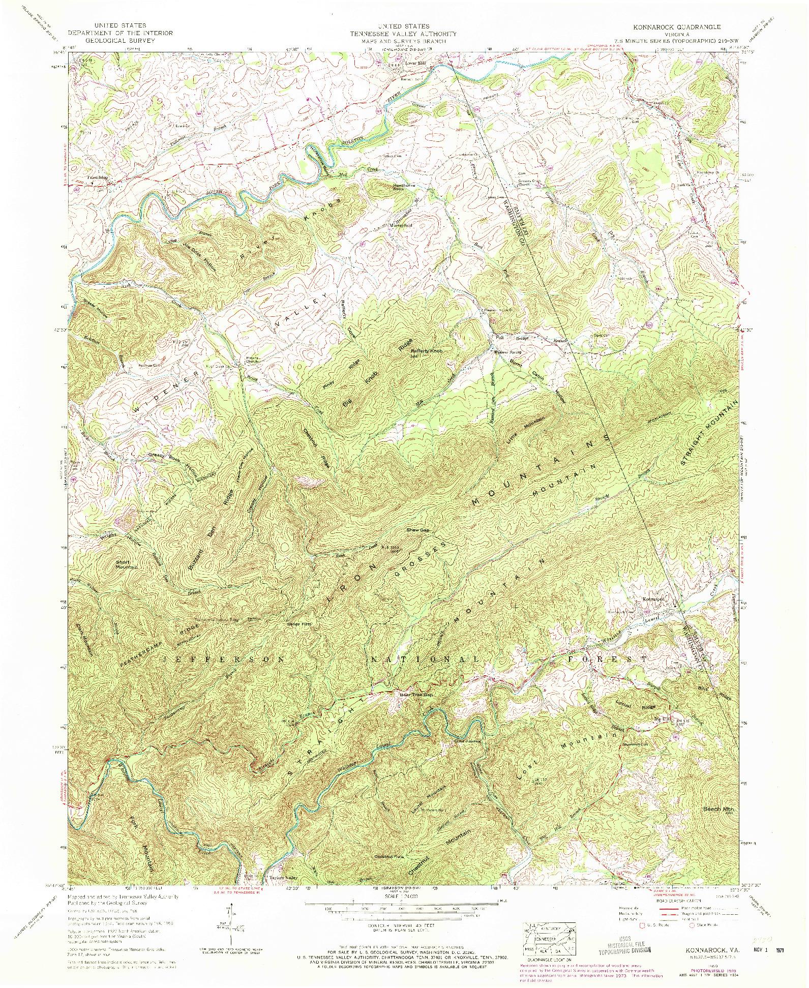 USGS 1:24000-SCALE QUADRANGLE FOR KONNAROCK, VA 1959