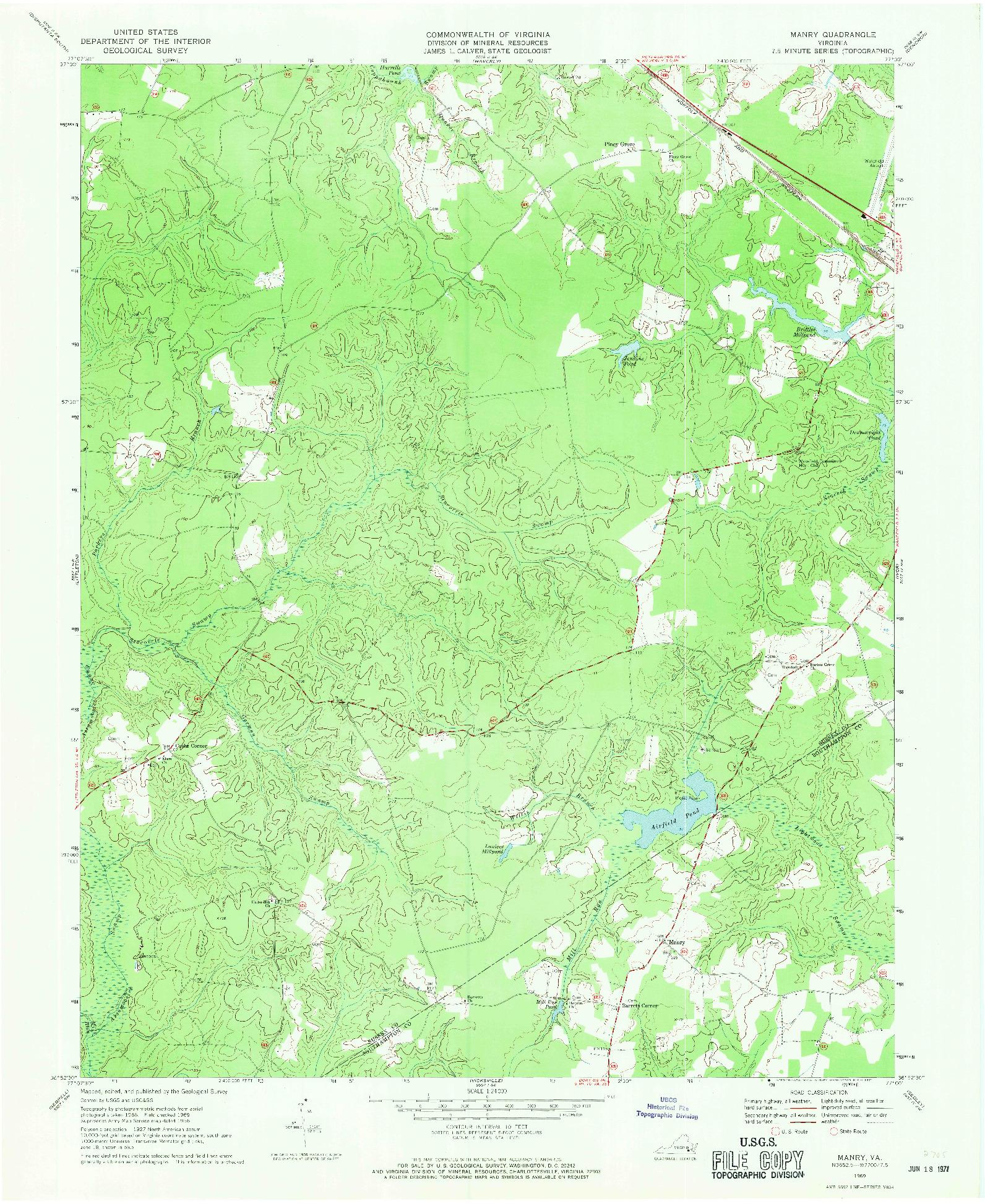 USGS 1:24000-SCALE QUADRANGLE FOR MANRY, VA 1969