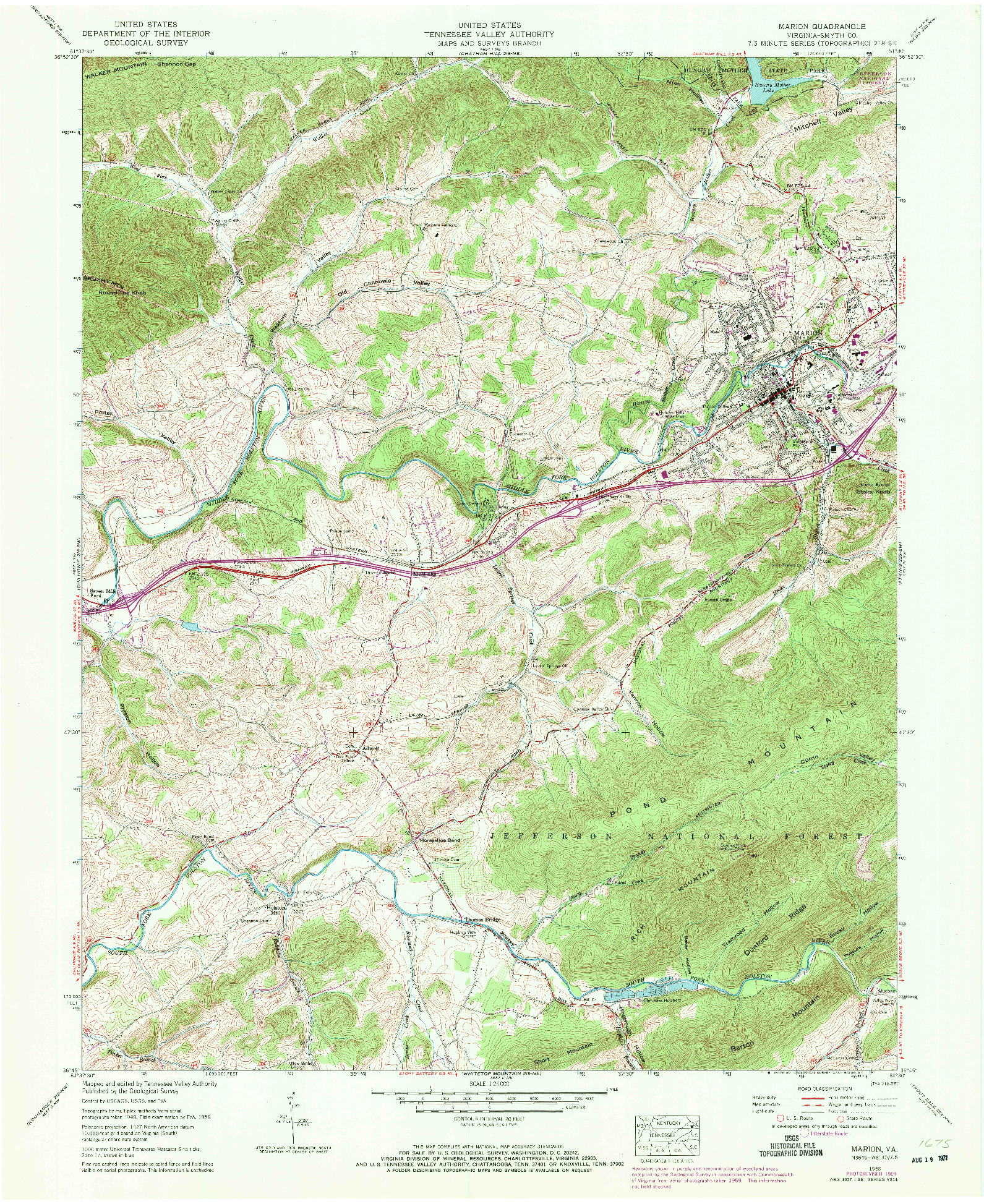 USGS 1:24000-SCALE QUADRANGLE FOR MARION, VA 1958