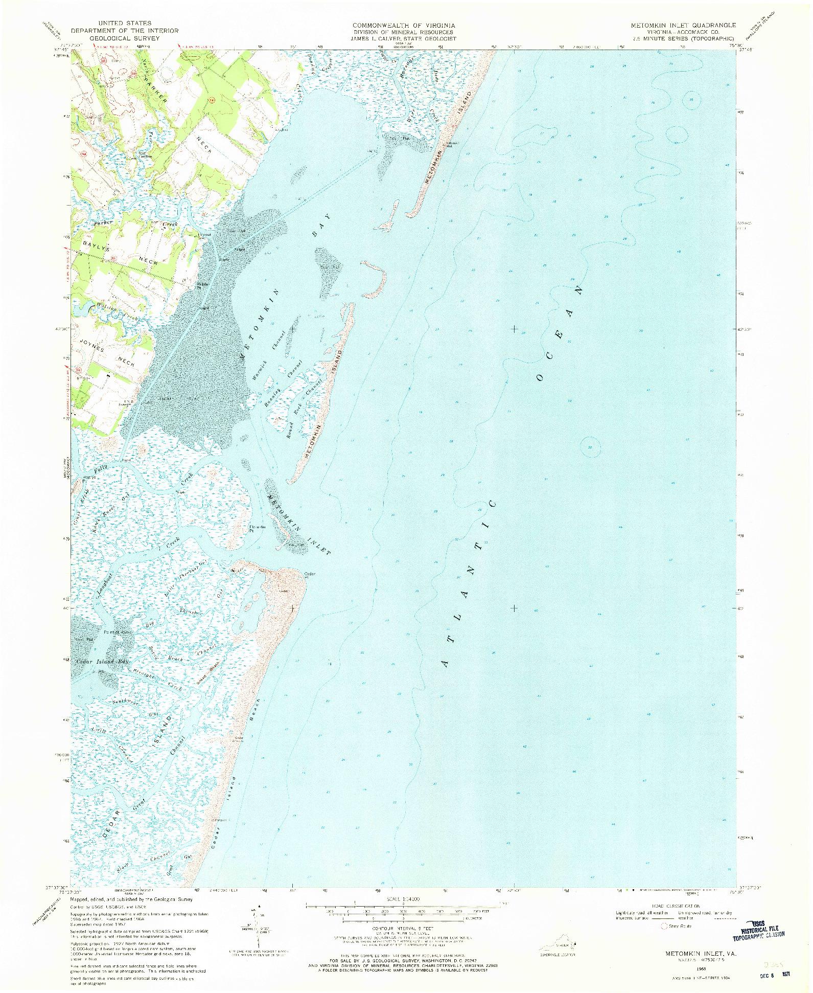 USGS 1:24000-SCALE QUADRANGLE FOR METOMKIN INLET, VA 1968