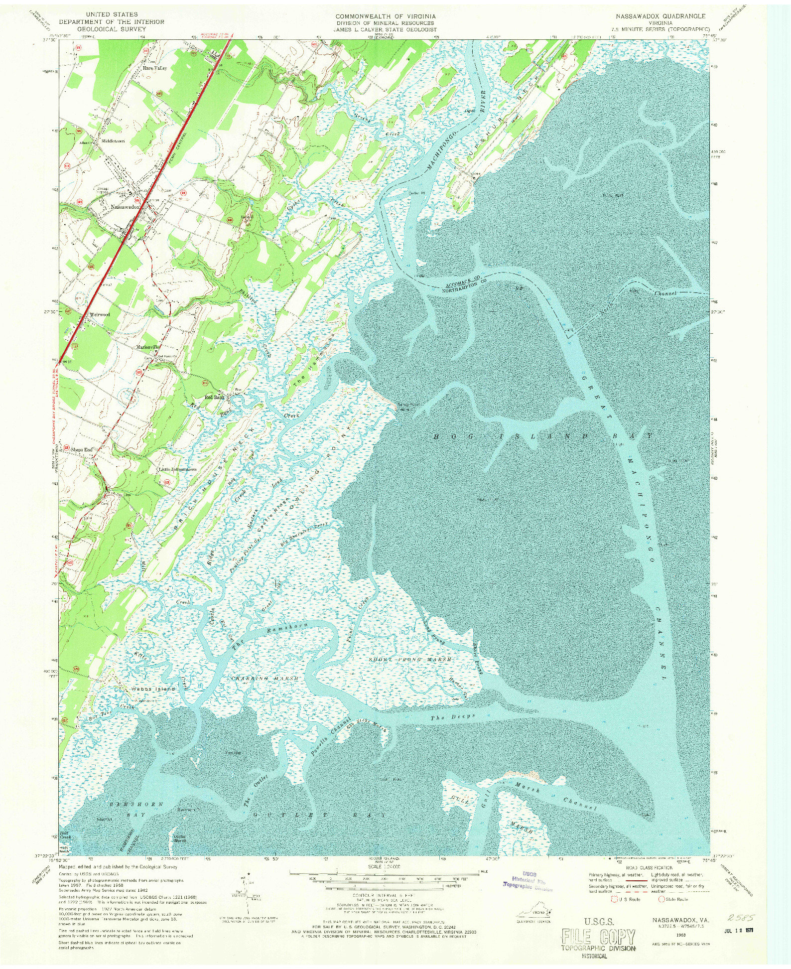 USGS 1:24000-SCALE QUADRANGLE FOR NASSAWADOX, VA 1968