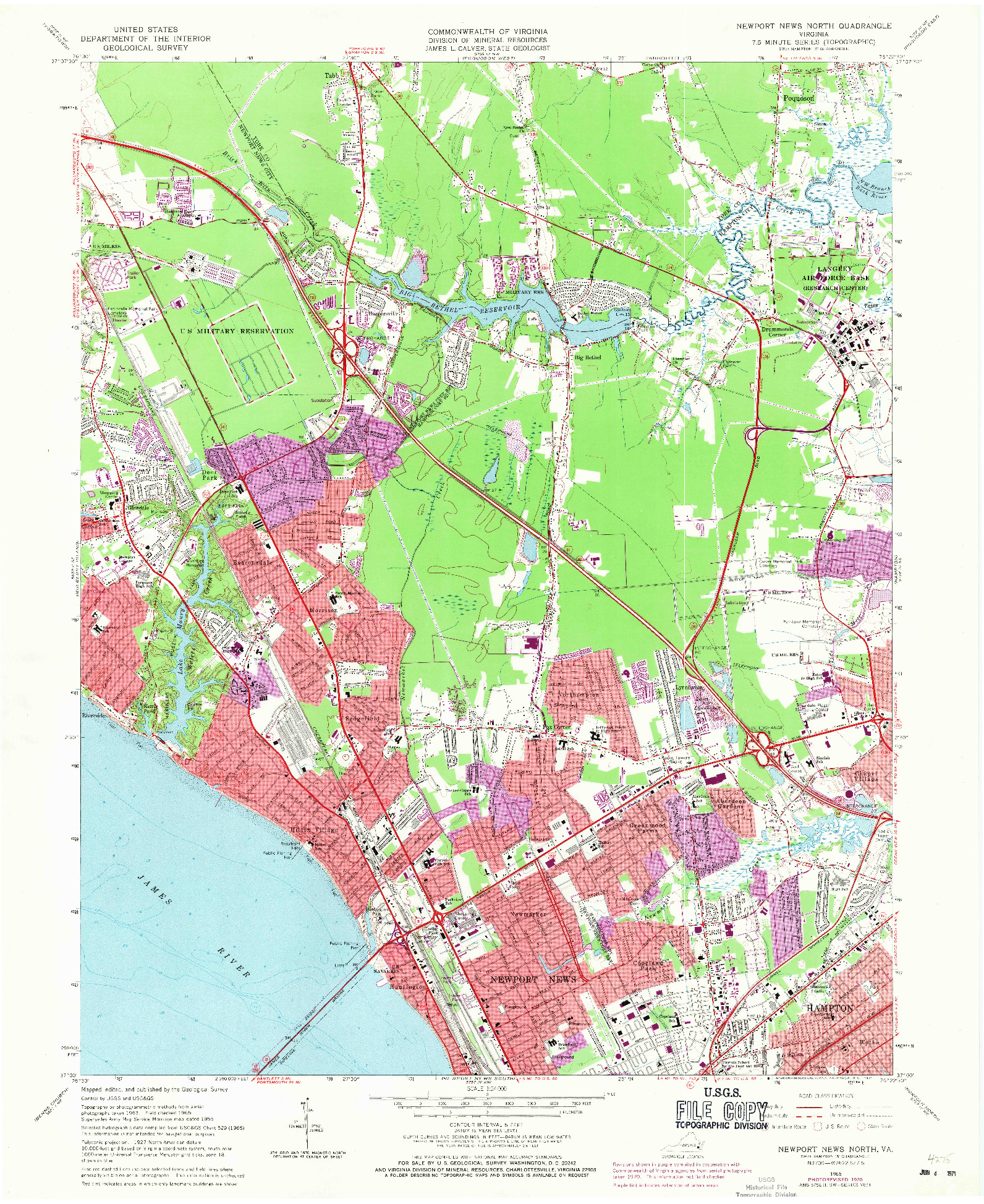 USGS 1:24000-SCALE QUADRANGLE FOR NEWPORT NEWS NORTH, VA 1965