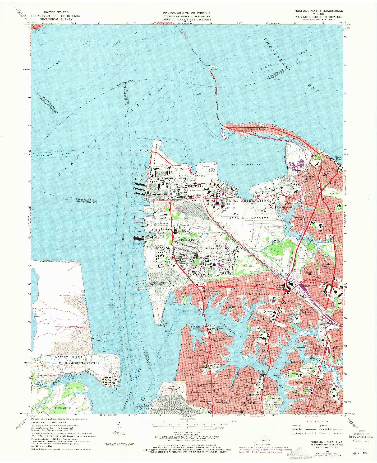 USGS 1:24000-SCALE QUADRANGLE FOR NORFOLK NORTH, VA 1965