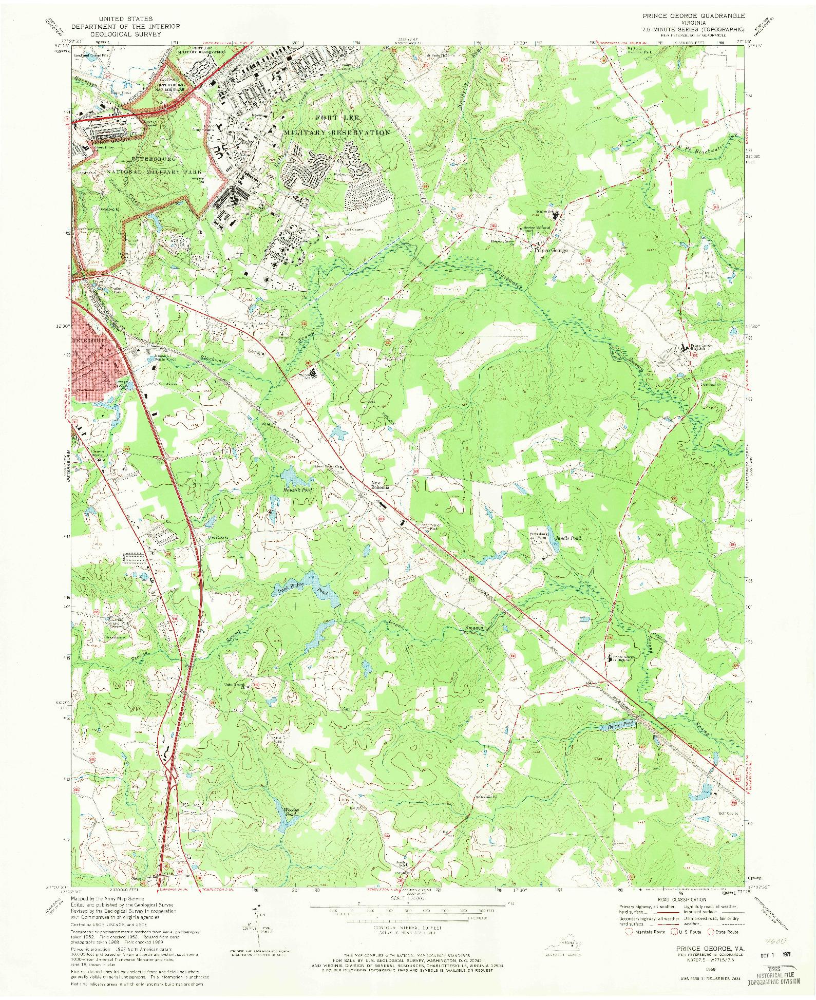 USGS 1:24000-SCALE QUADRANGLE FOR PRINCE GEORGE, VA 1969