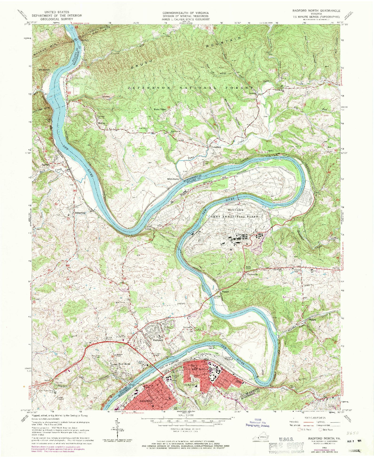 USGS 1:24000-SCALE QUADRANGLE FOR RADFORD NORTH, VA 1965