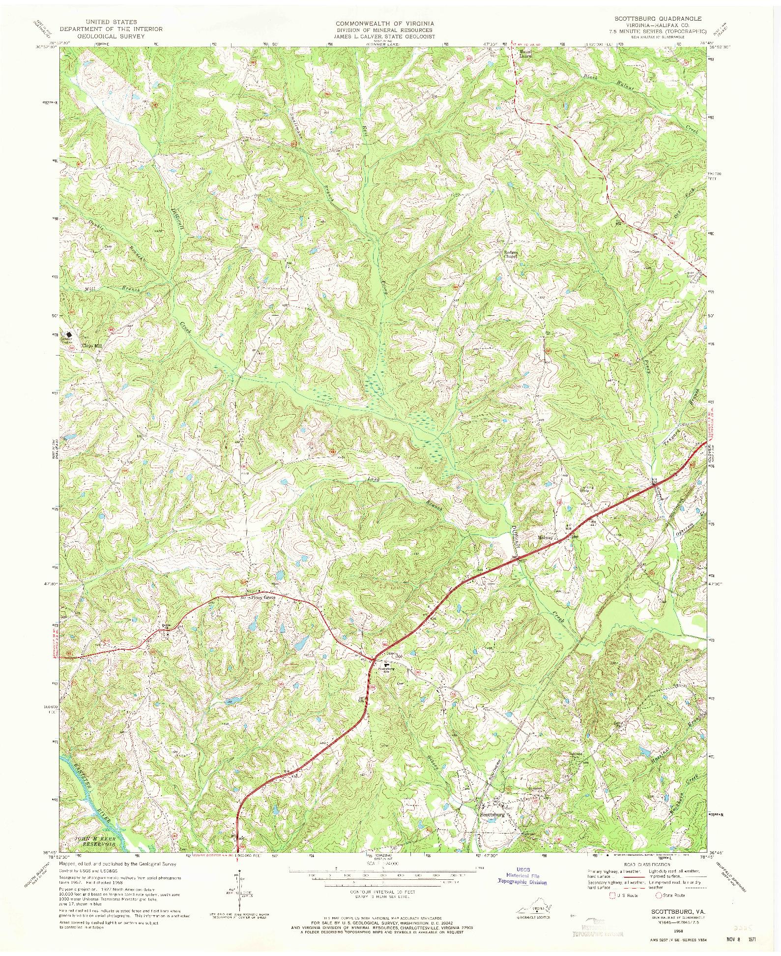 USGS 1:24000-SCALE QUADRANGLE FOR SCOTTSBURG, VA 1968