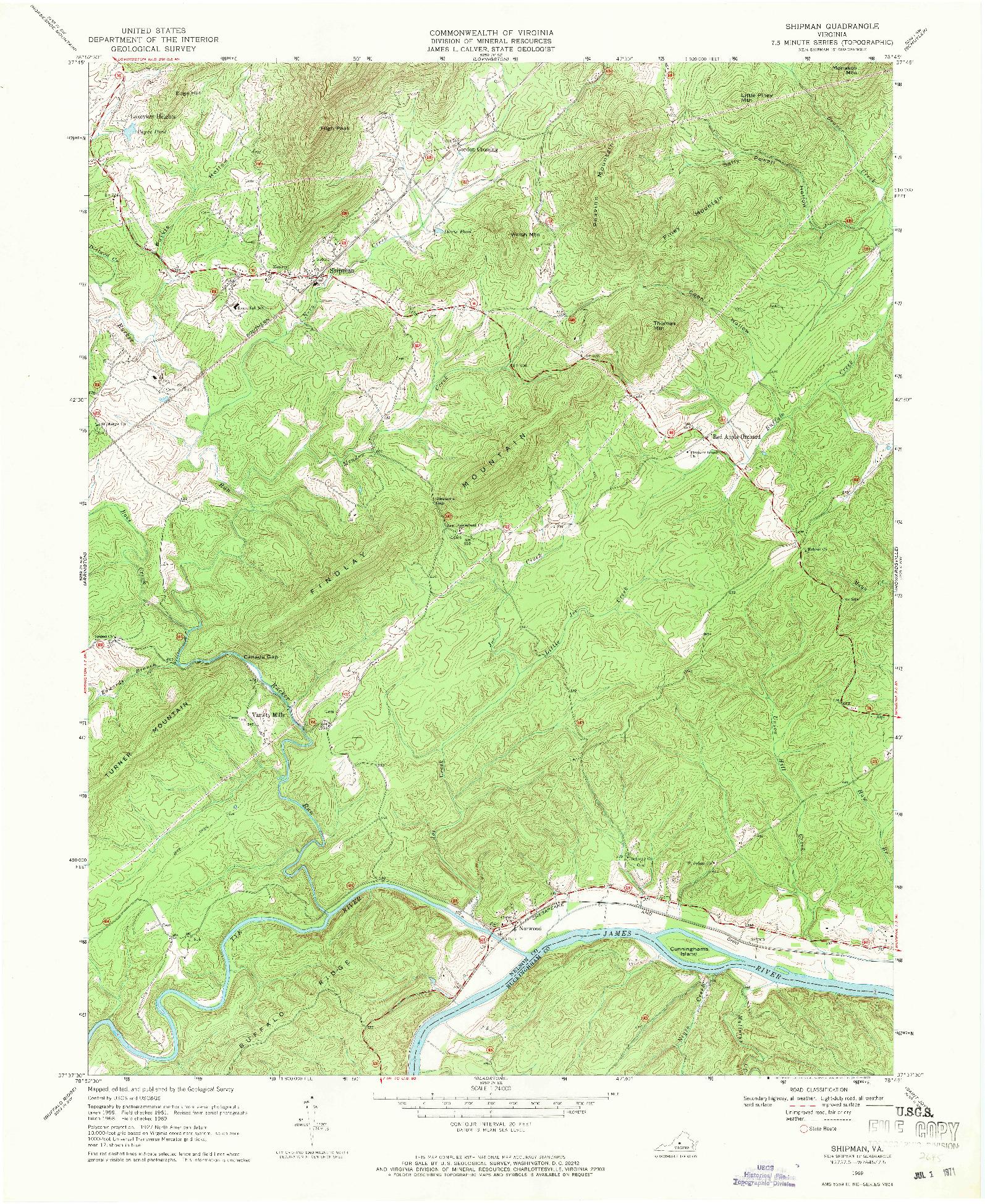 USGS 1:24000-SCALE QUADRANGLE FOR SHIPMAN, VA 1969