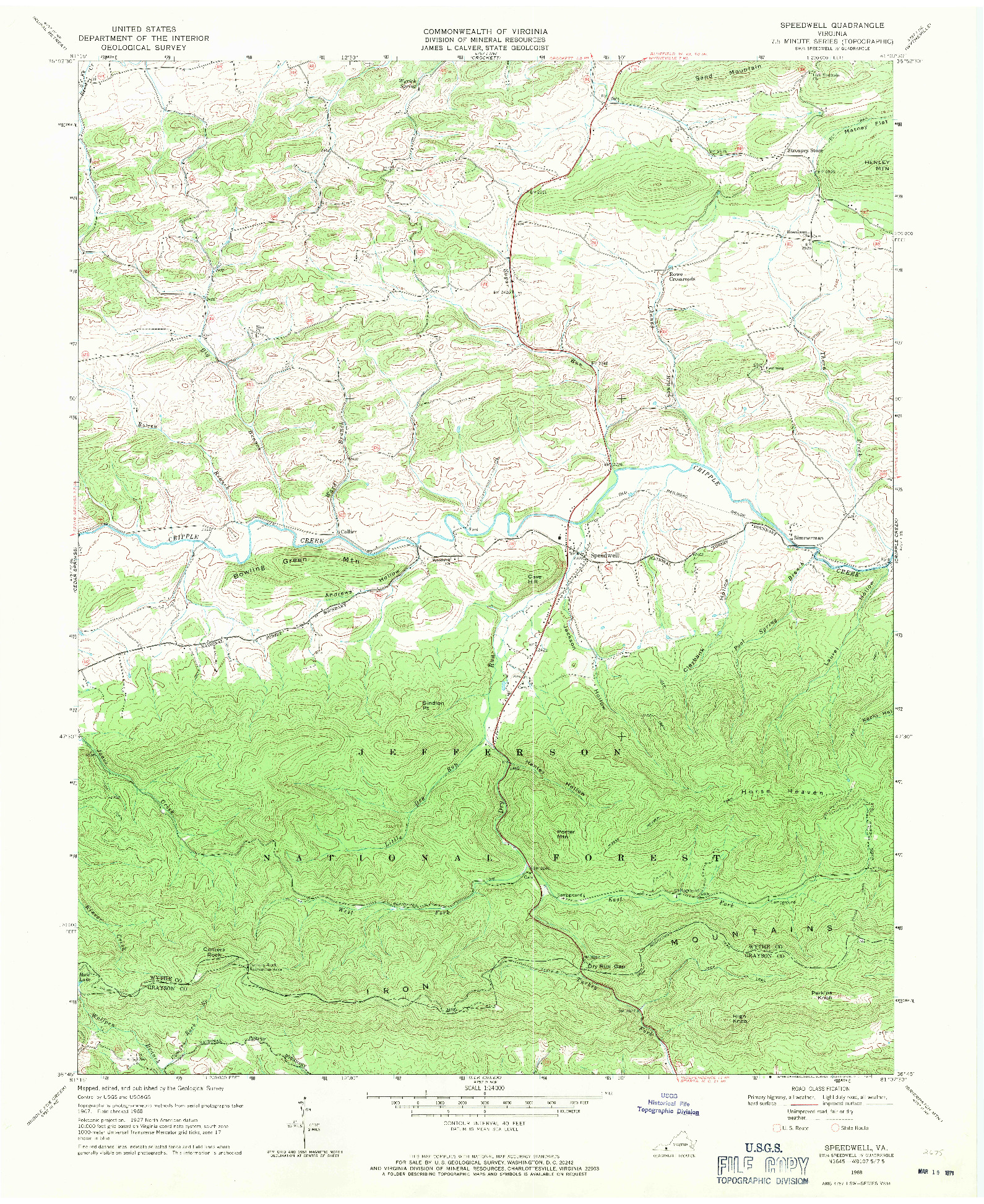 USGS 1:24000-SCALE QUADRANGLE FOR SPEEDWELL, VA 1968