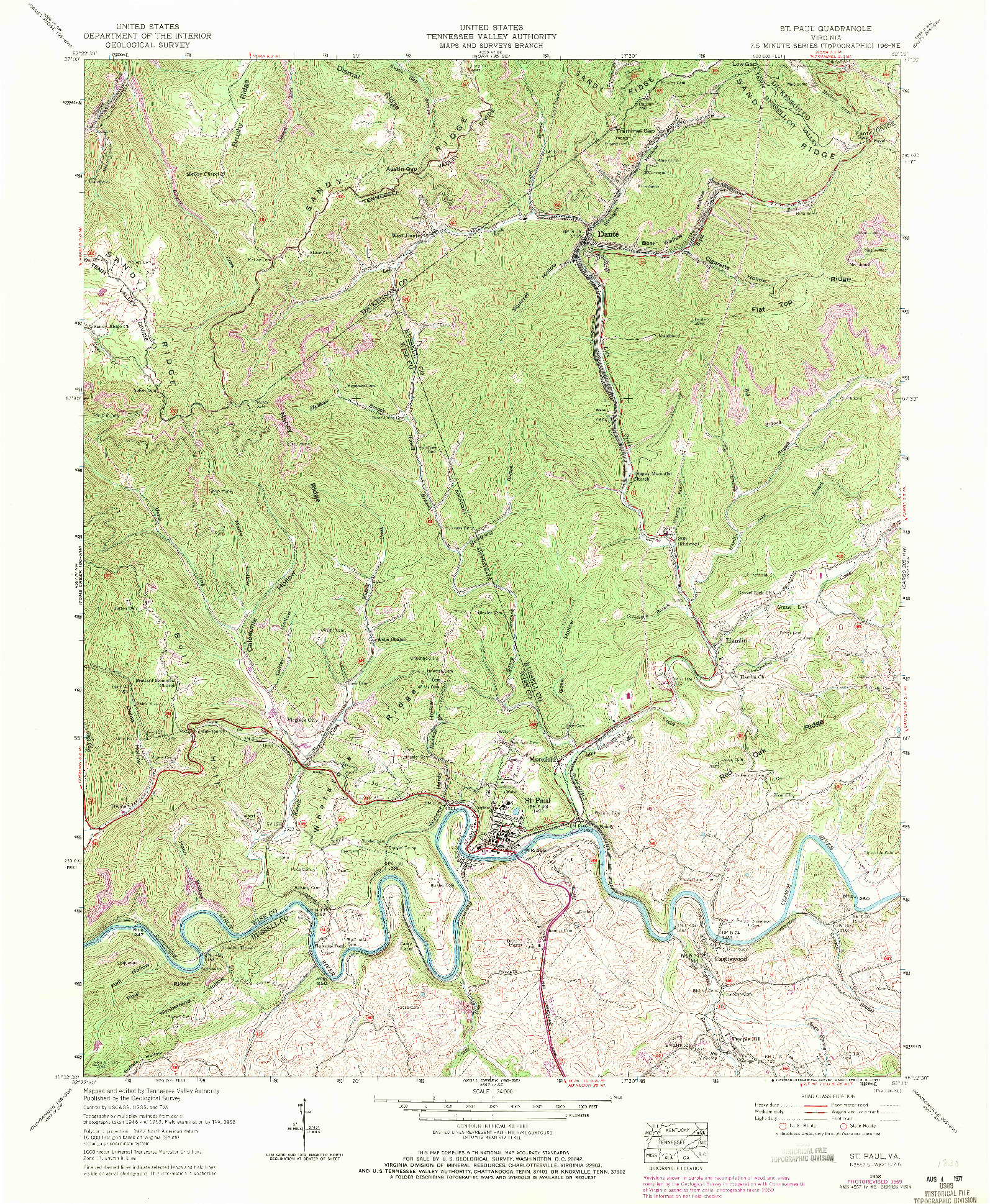 USGS 1:24000-SCALE QUADRANGLE FOR ST PAUL, VA 1958