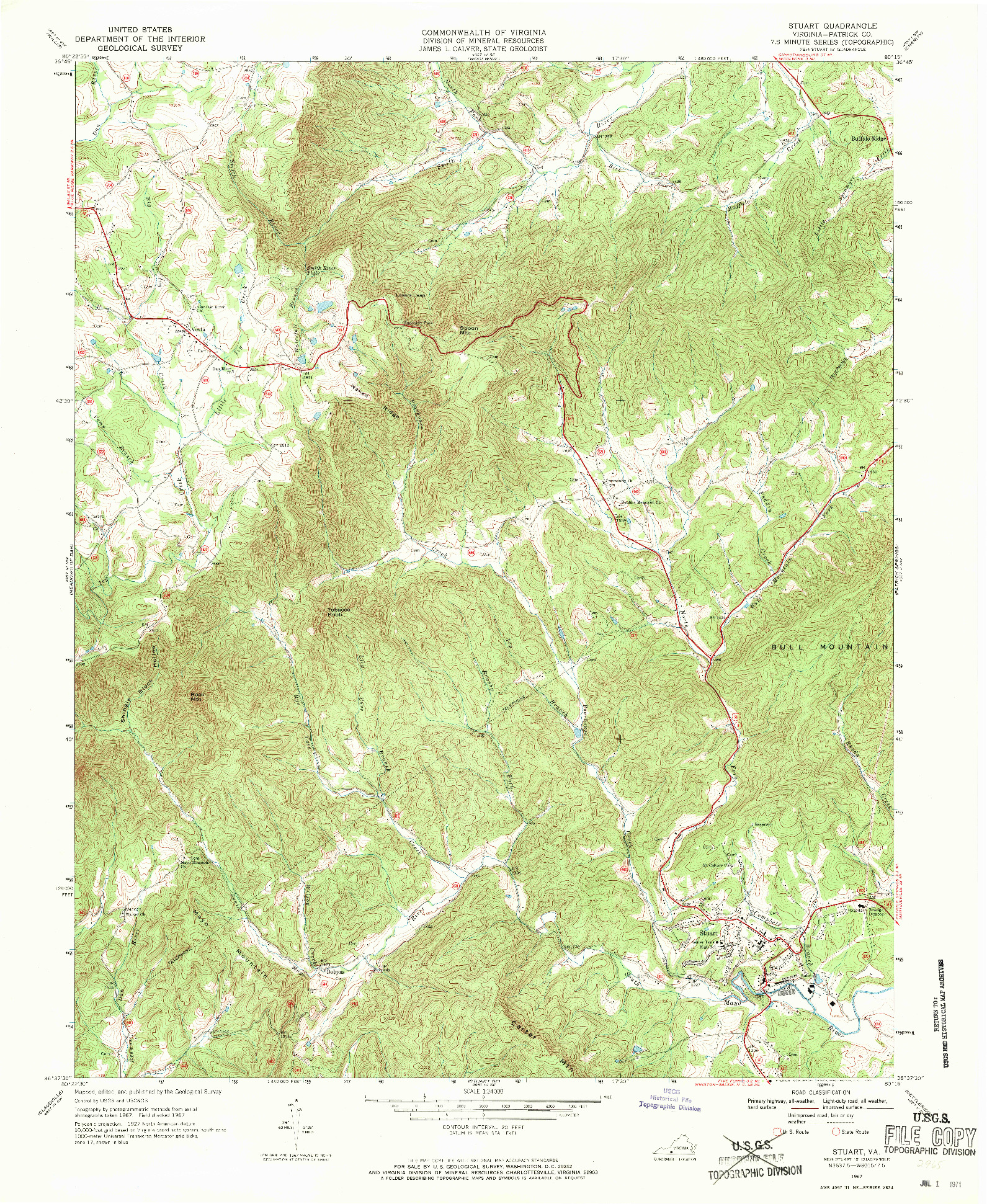 USGS 1:24000-SCALE QUADRANGLE FOR STUART, VA 1967
