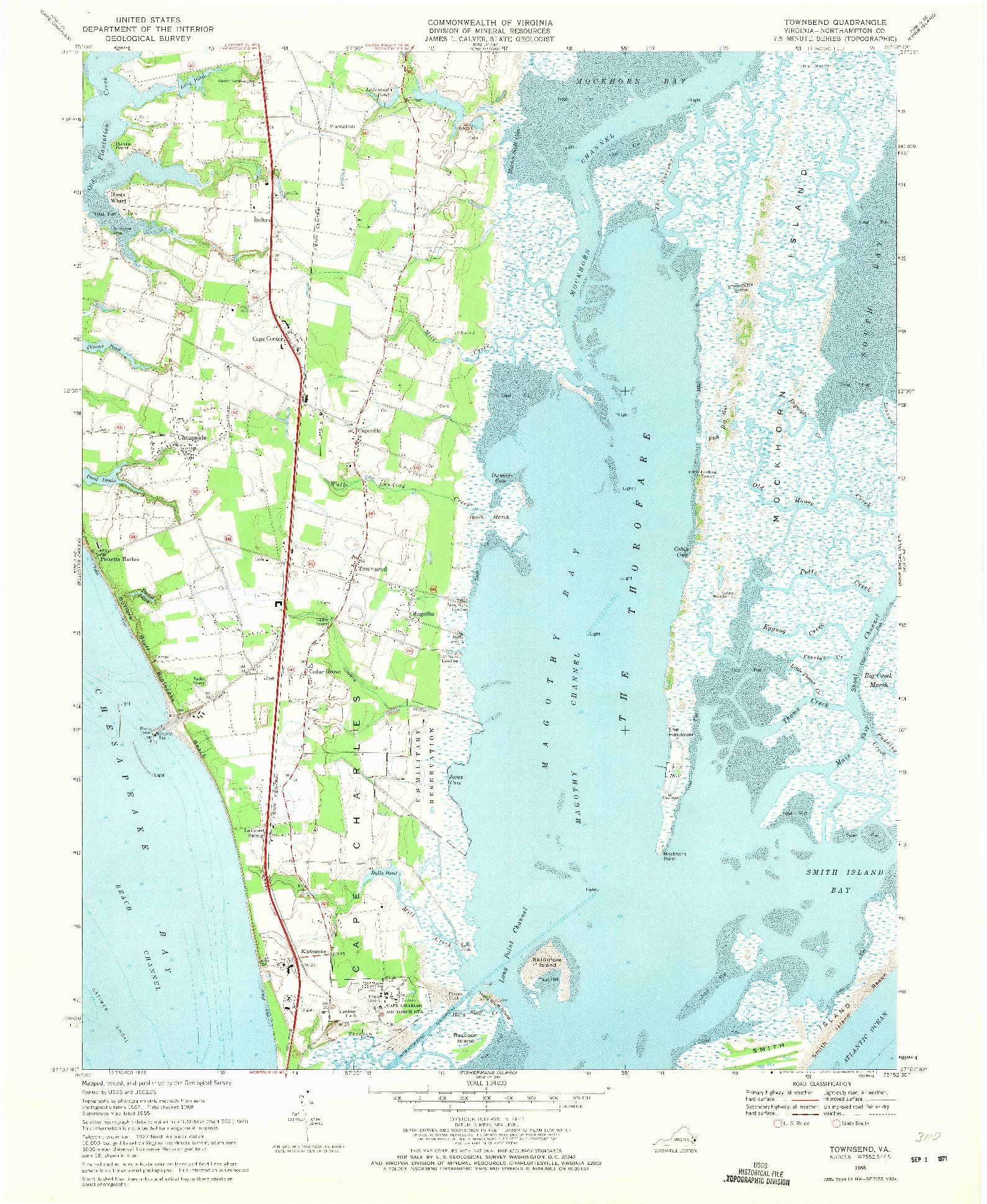 USGS 1:24000-SCALE QUADRANGLE FOR TOWNSEND, VA 1968