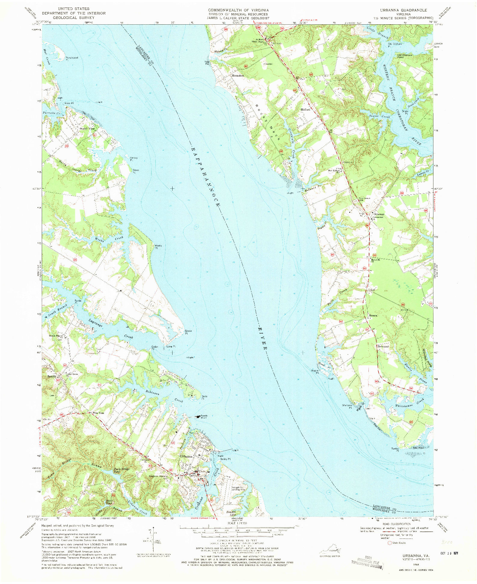 USGS 1:24000-SCALE QUADRANGLE FOR URBANNA, VA 1968