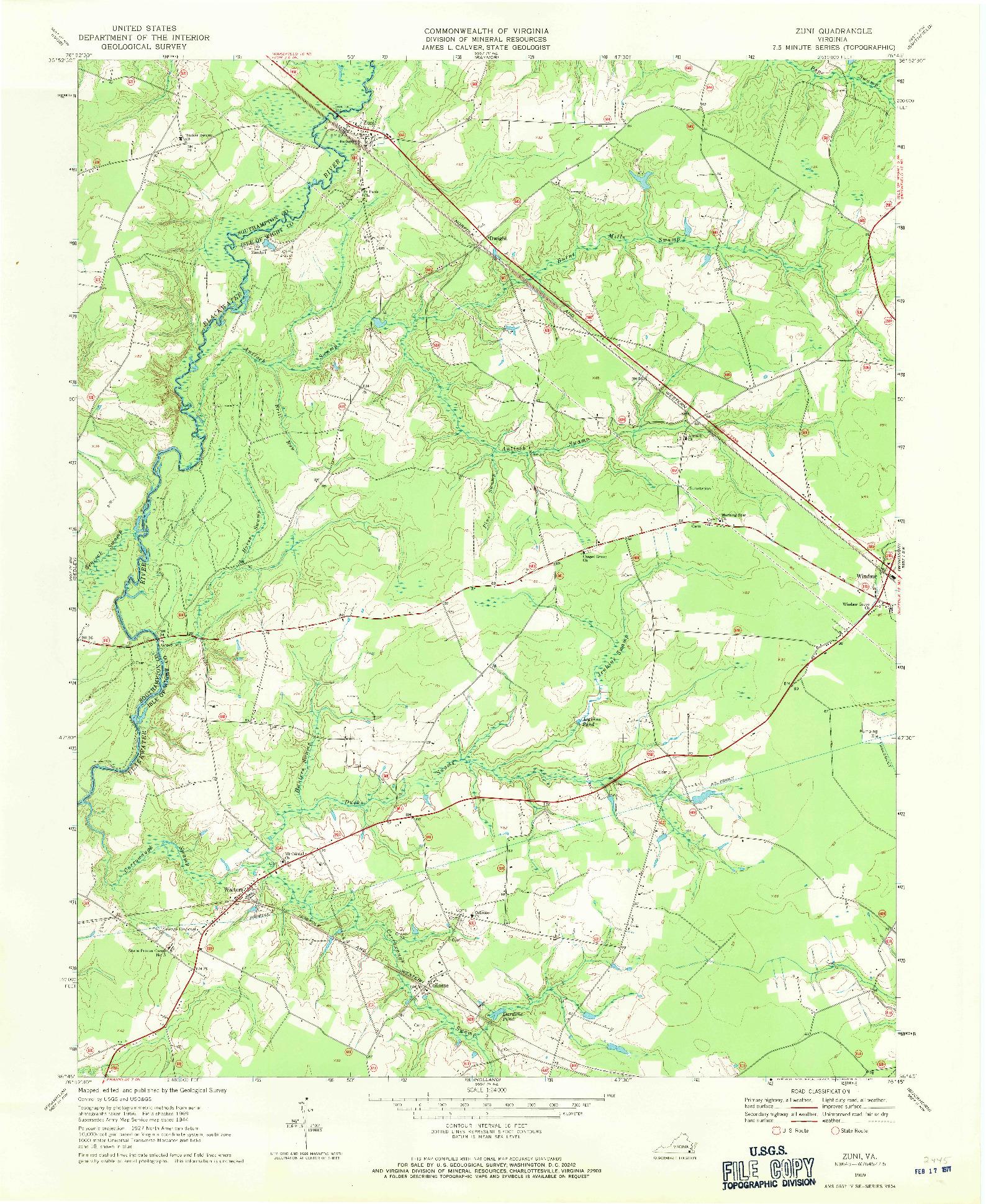 USGS 1:24000-SCALE QUADRANGLE FOR ZUNI, VA 1969
