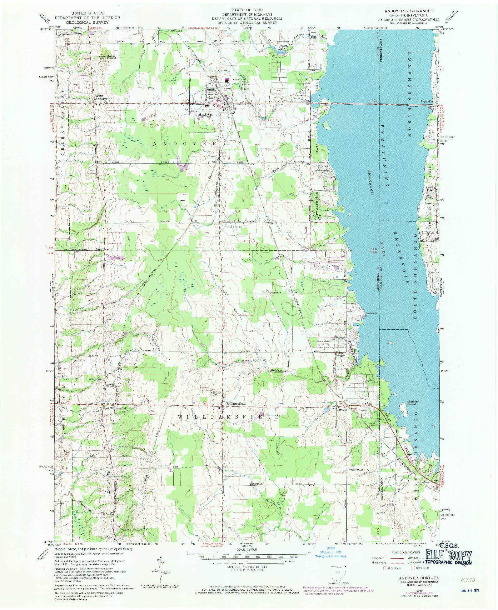 USGS 1:24000-SCALE QUADRANGLE FOR ANDOVER, OH 1959