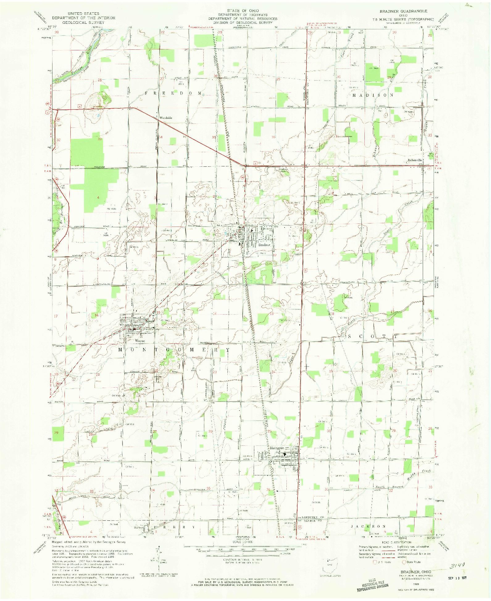USGS 1:24000-SCALE QUADRANGLE FOR BRADNER, OH 1969