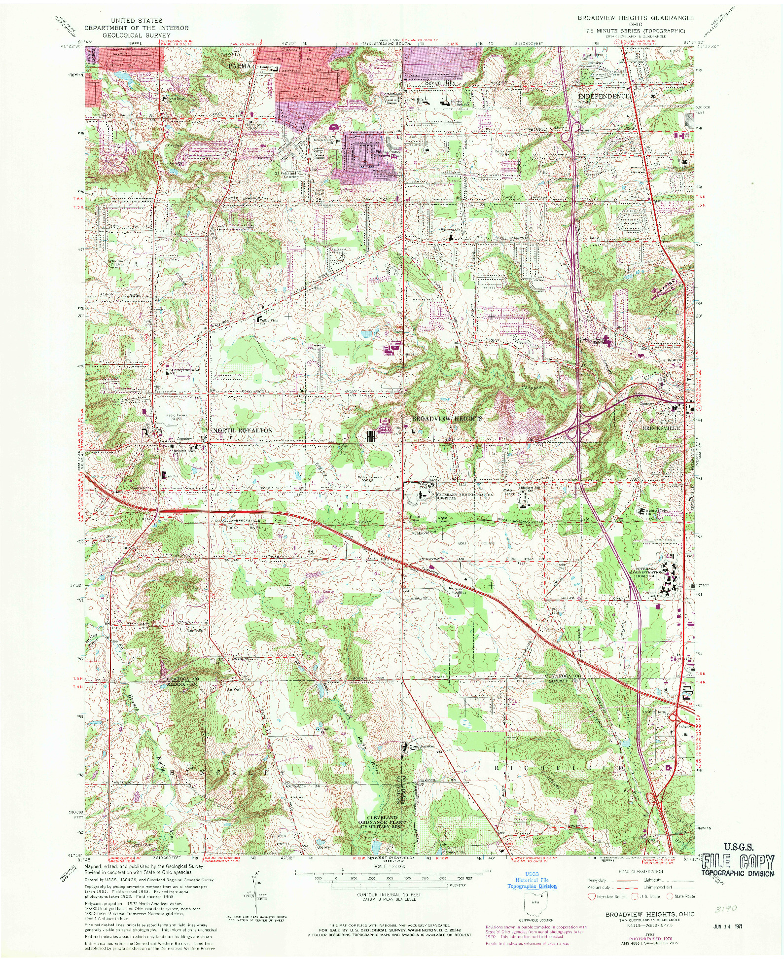 USGS 1:24000-SCALE QUADRANGLE FOR BROADVIEW HEIGHTS, OH 1963