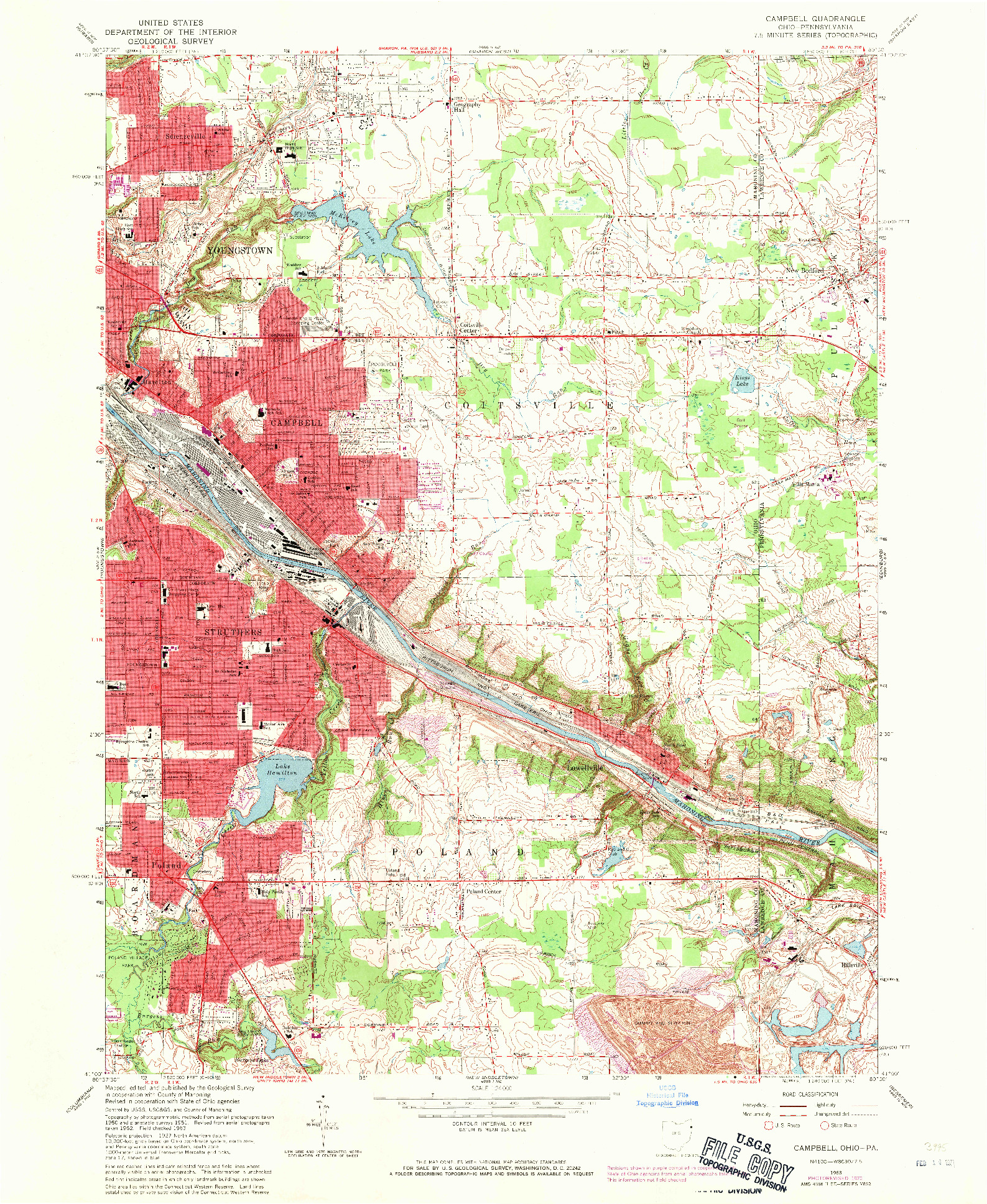 USGS 1:24000-SCALE QUADRANGLE FOR CAMPBELL, OH 1963