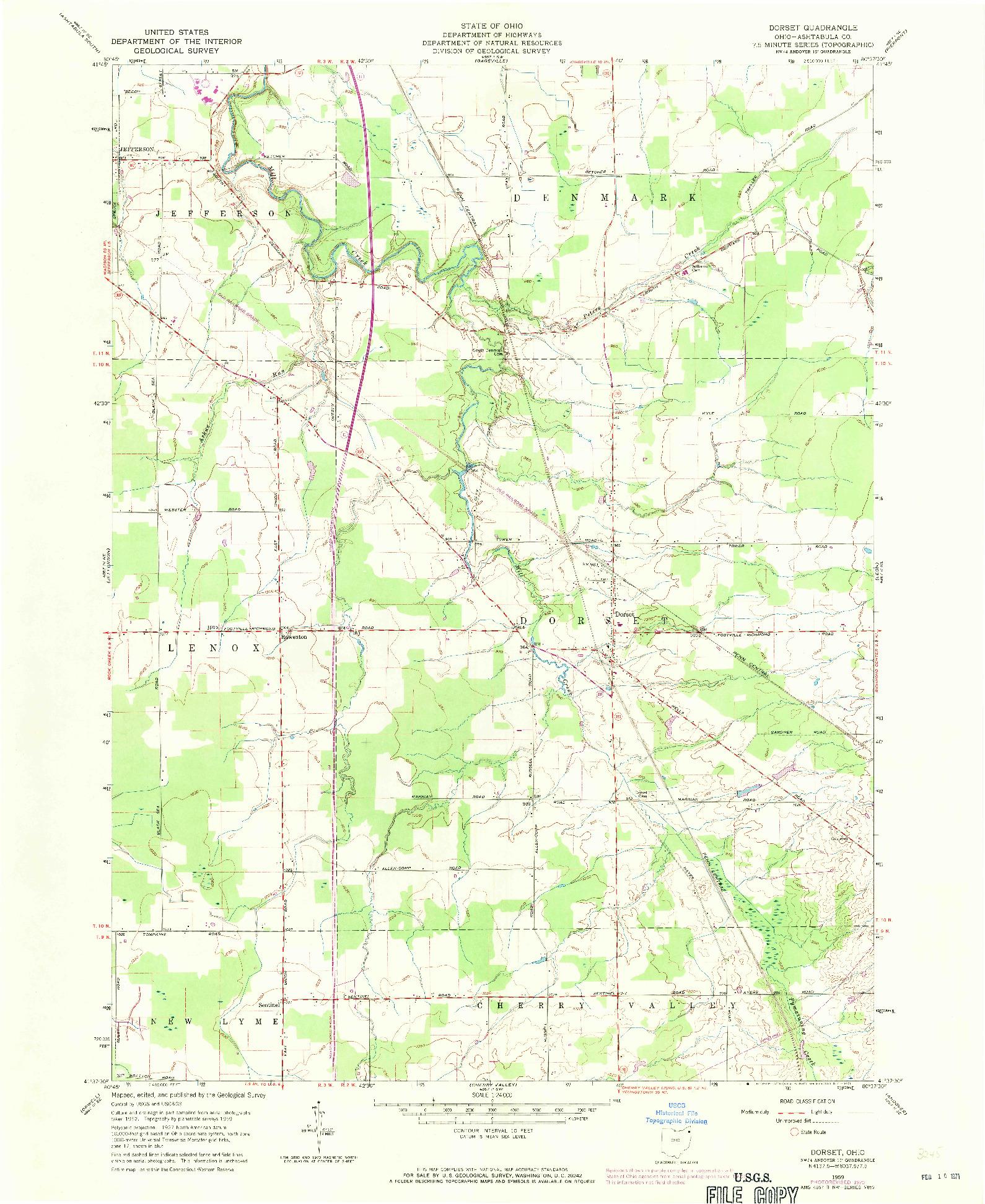 USGS 1:24000-SCALE QUADRANGLE FOR DORSET, OH 1959