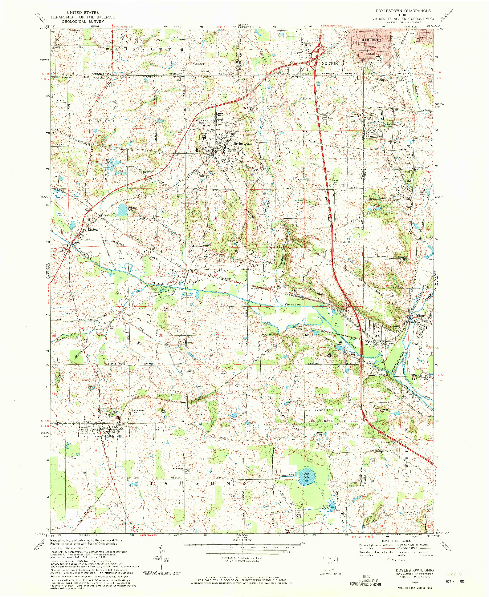 USGS 1:24000-SCALE QUADRANGLE FOR DOYLESTOWN, OH 1969