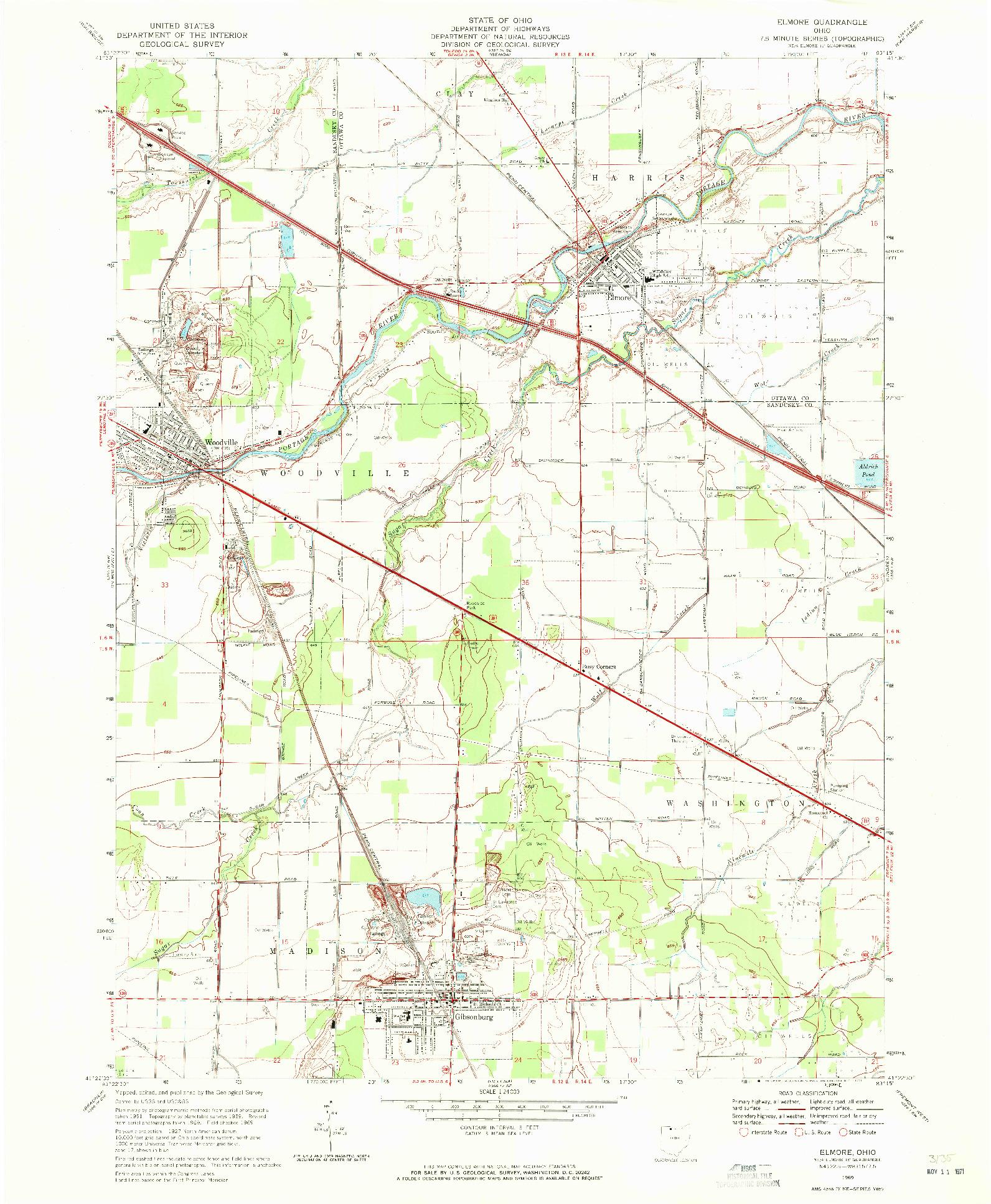 USGS 1:24000-SCALE QUADRANGLE FOR ELMORE, OH 1969