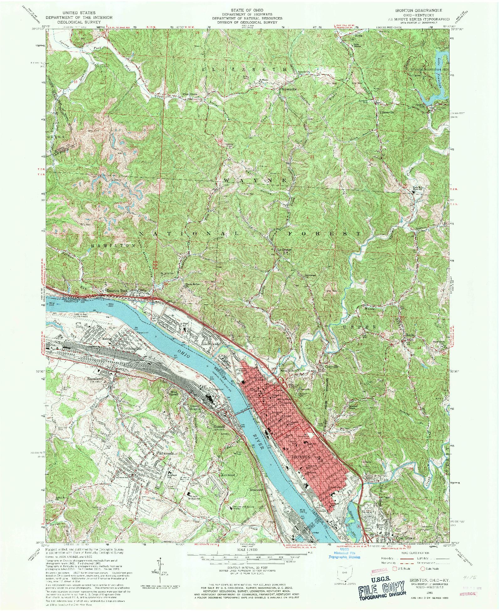 USGS 1:24000-SCALE QUADRANGLE FOR IRONTON, OH 1961