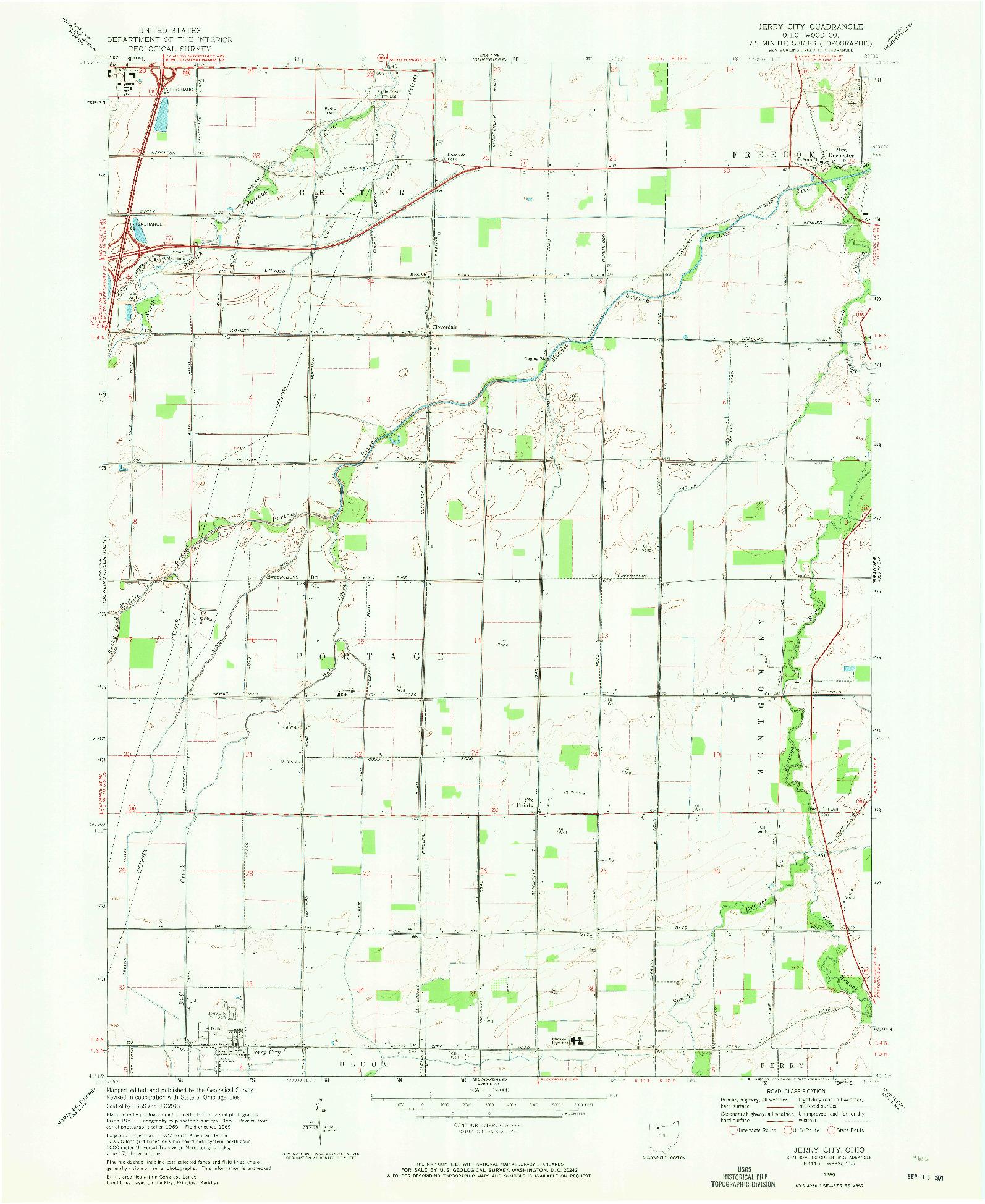 USGS 1:24000-SCALE QUADRANGLE FOR JERRY CITY, OH 1969