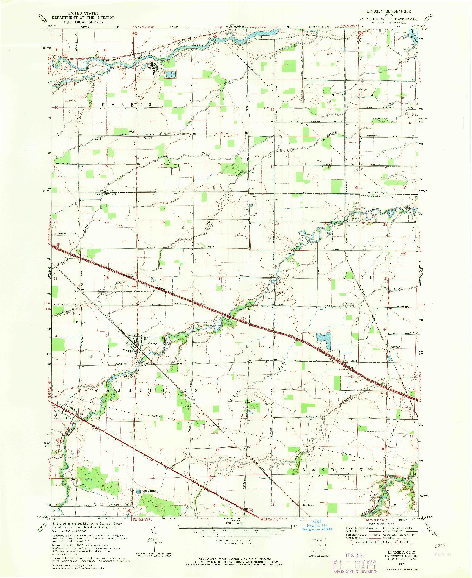 USGS 1:24000-SCALE QUADRANGLE FOR LINDSEY, OH 1969