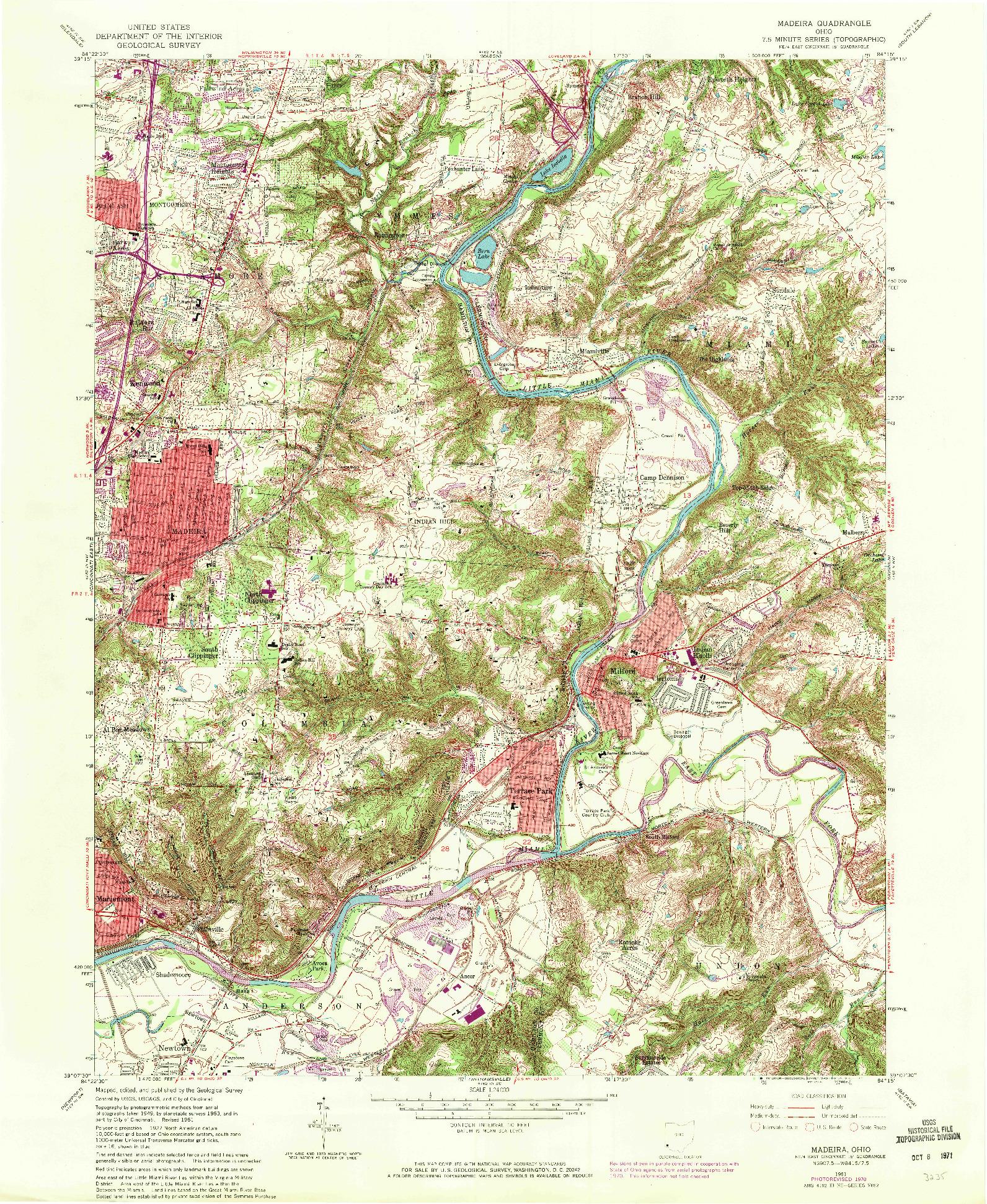 USGS 1:24000-SCALE QUADRANGLE FOR MADEIRA, OH 1961