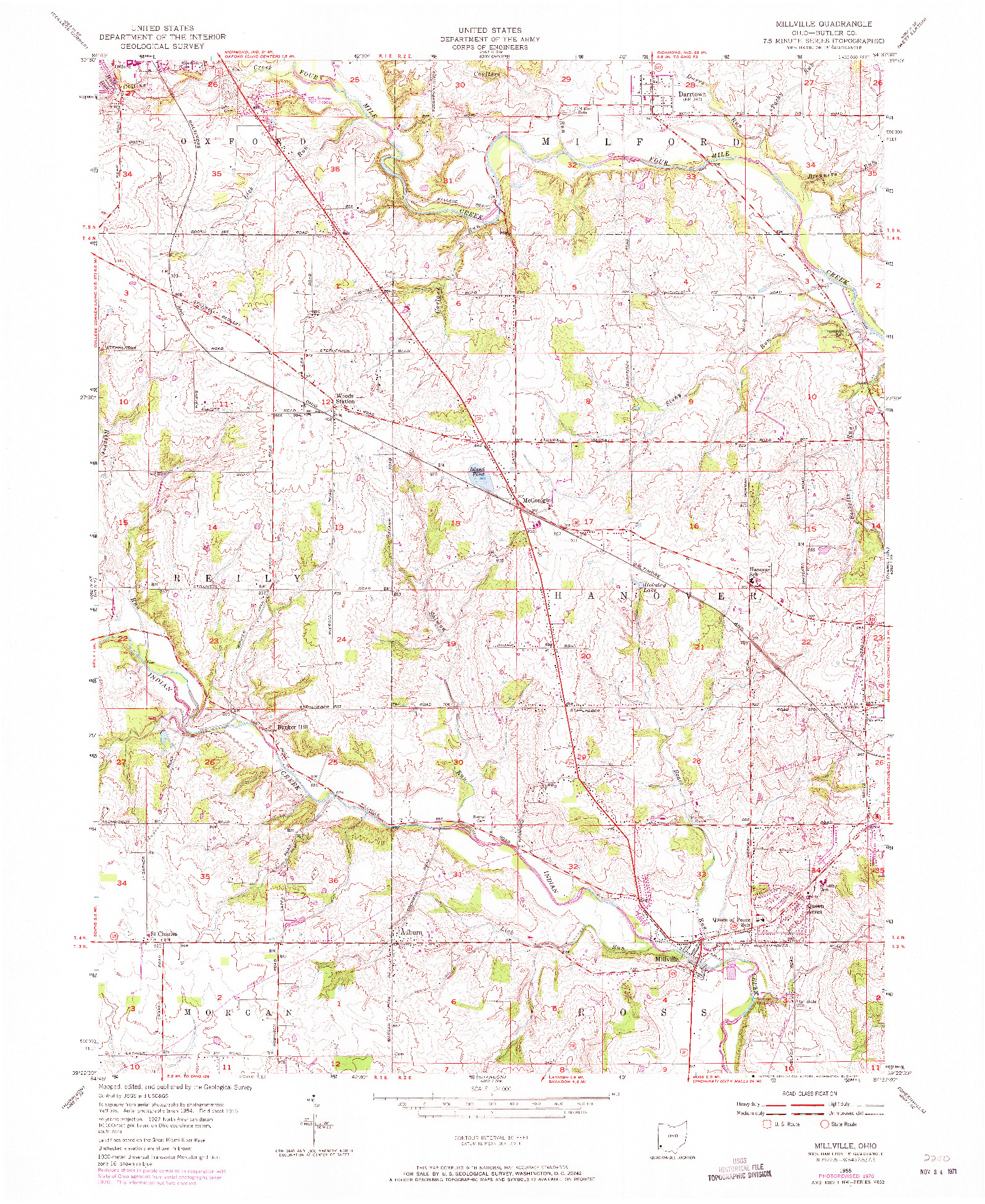 USGS 1:24000-SCALE QUADRANGLE FOR MILLVILLE, OH 1955