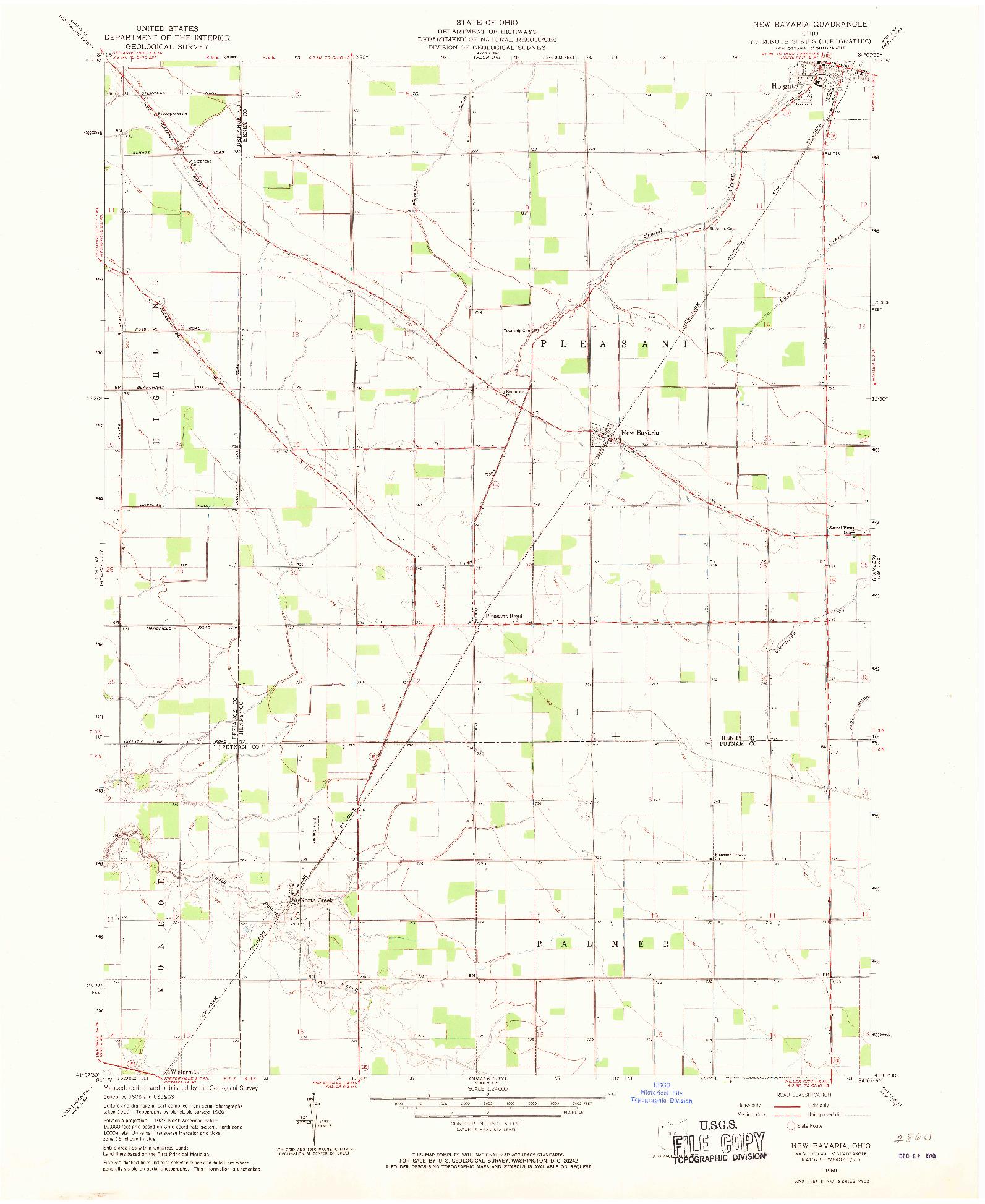 USGS 1:24000-SCALE QUADRANGLE FOR NEW BAVARIA, OH 1960