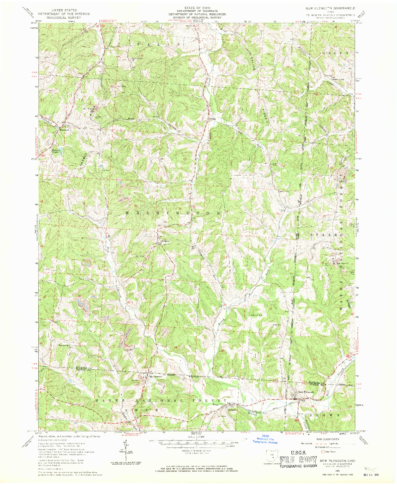 USGS 1:24000-SCALE QUADRANGLE FOR NEW PLYMOUTH, OH 1961