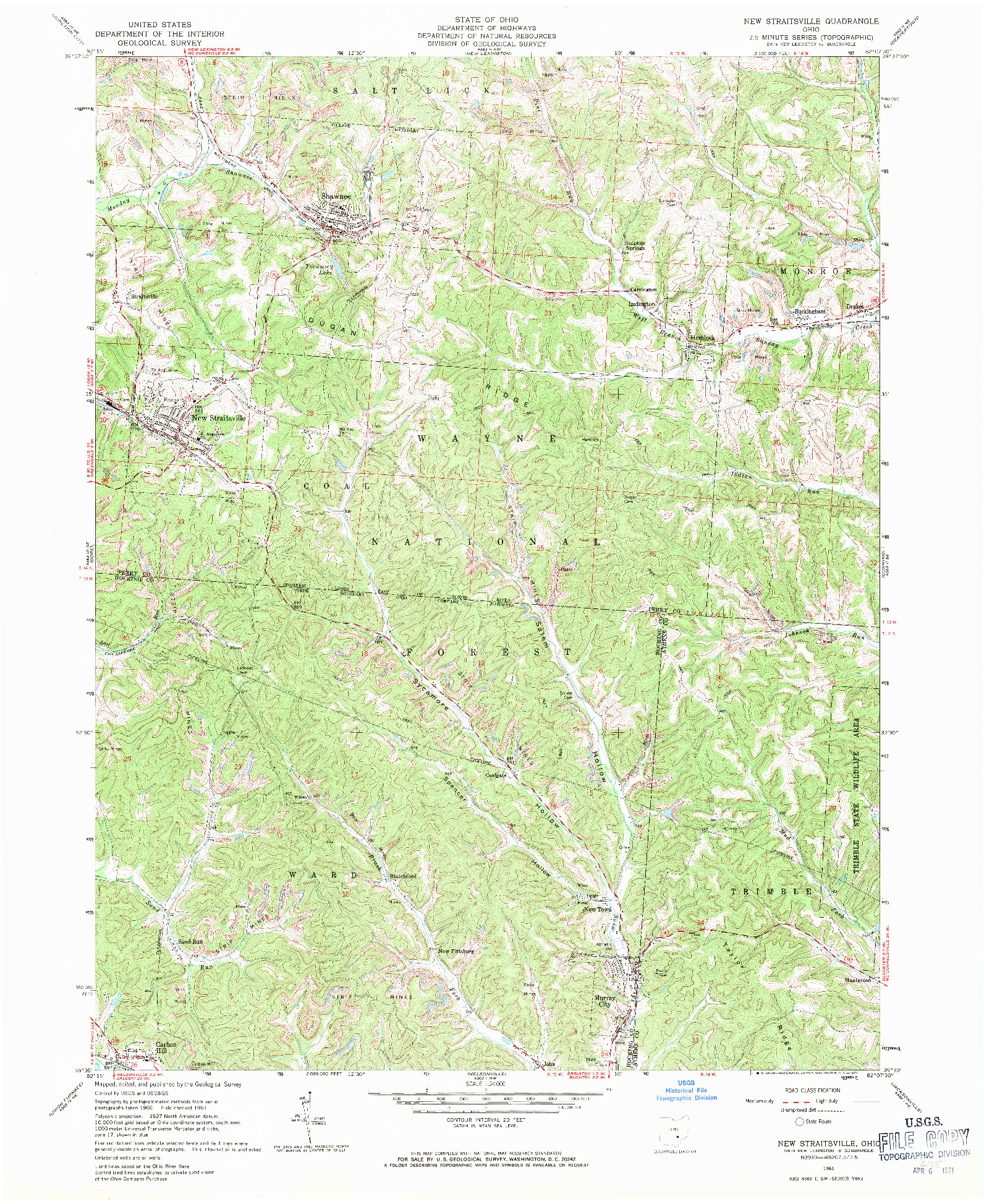 USGS 1:24000-SCALE QUADRANGLE FOR NEW STRAITSVILLE, OH 1961