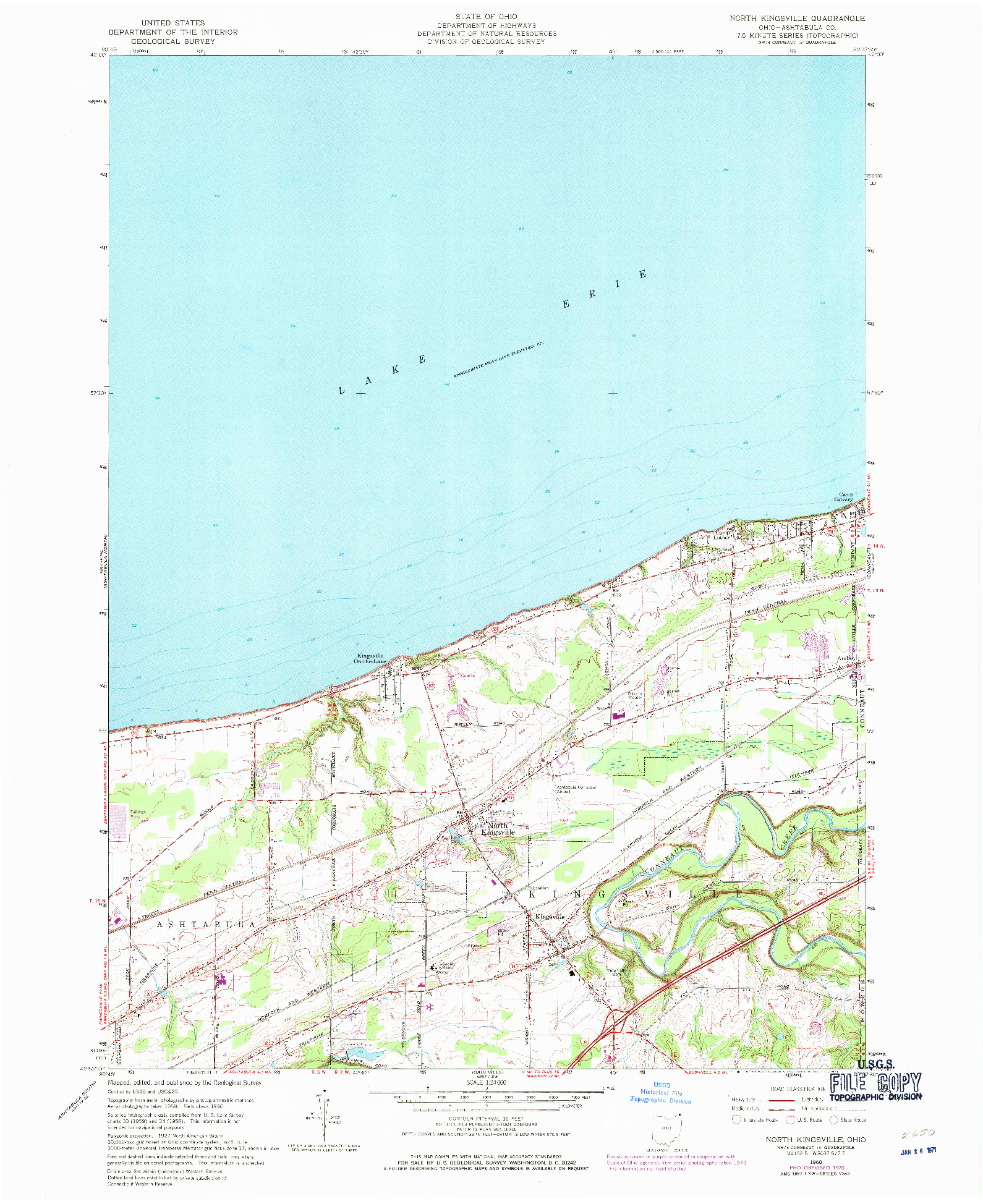 USGS 1:24000-SCALE QUADRANGLE FOR NORTH KINGSVILLE, OH 1960