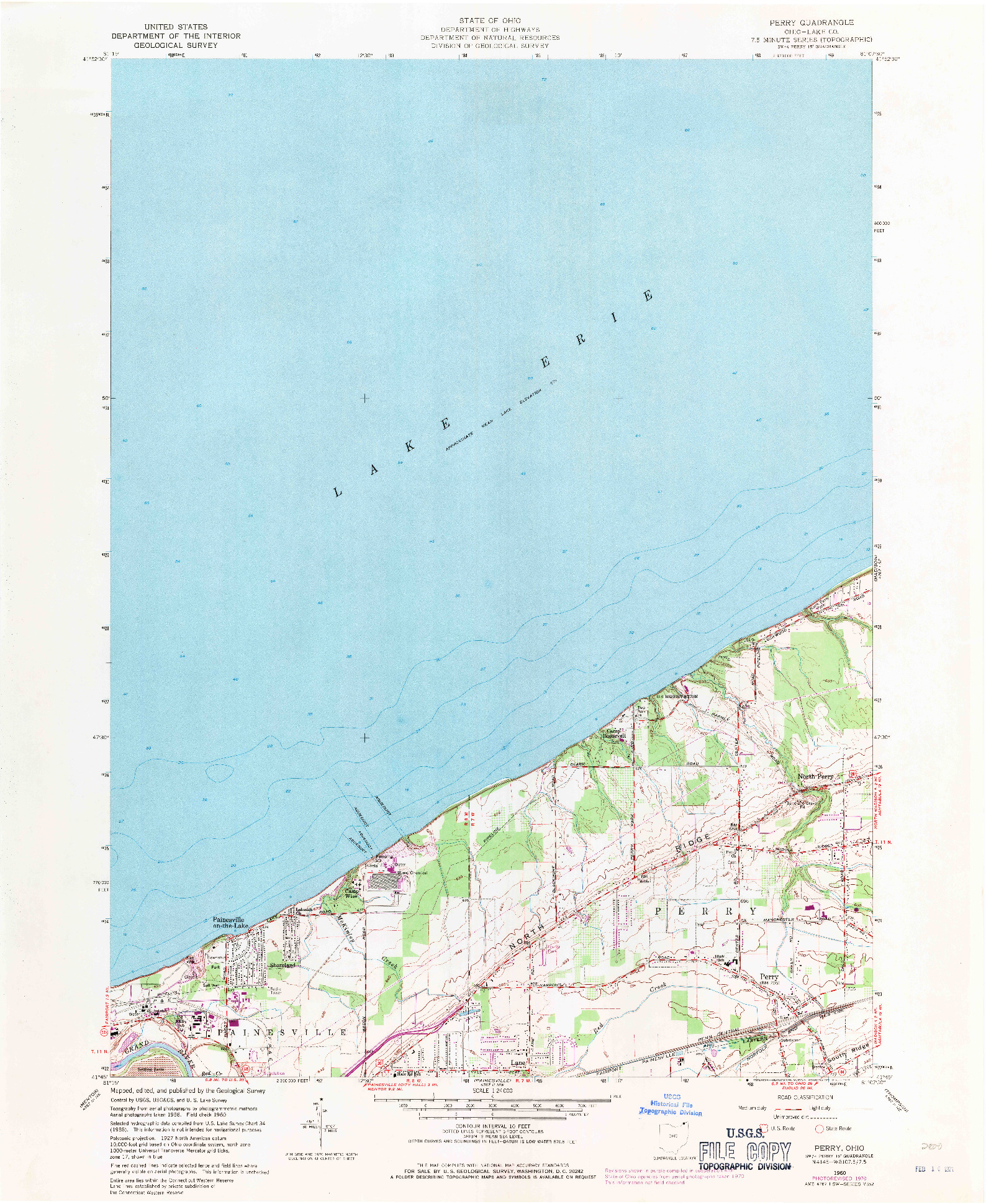 USGS 1:24000-SCALE QUADRANGLE FOR PERRY, OH 1960
