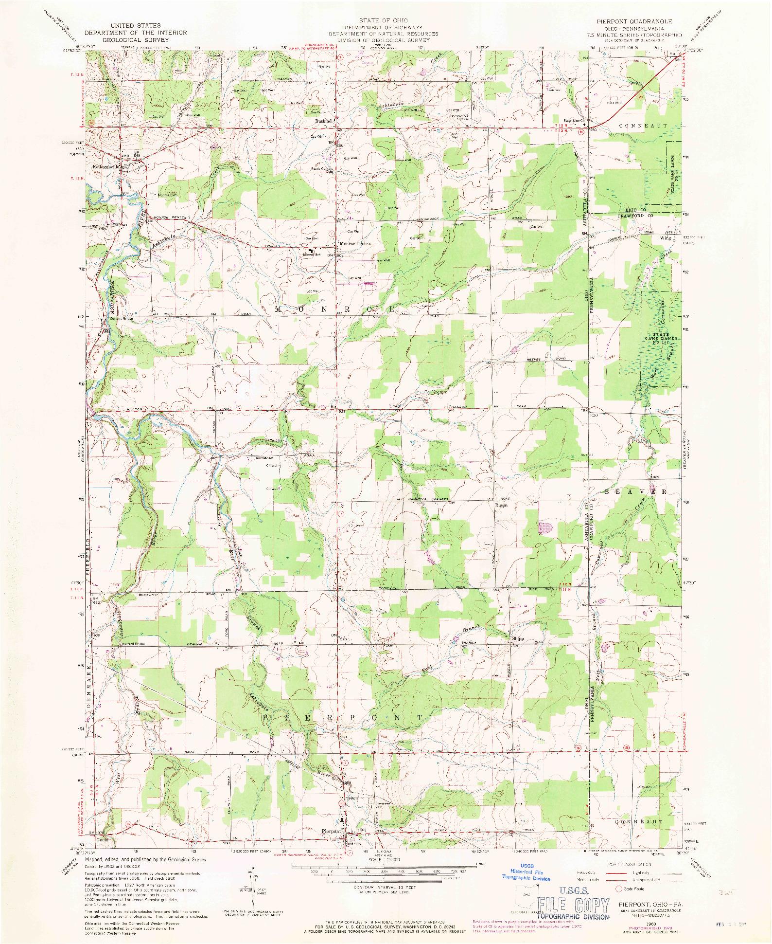 USGS 1:24000-SCALE QUADRANGLE FOR PIERPONT, OH 1960