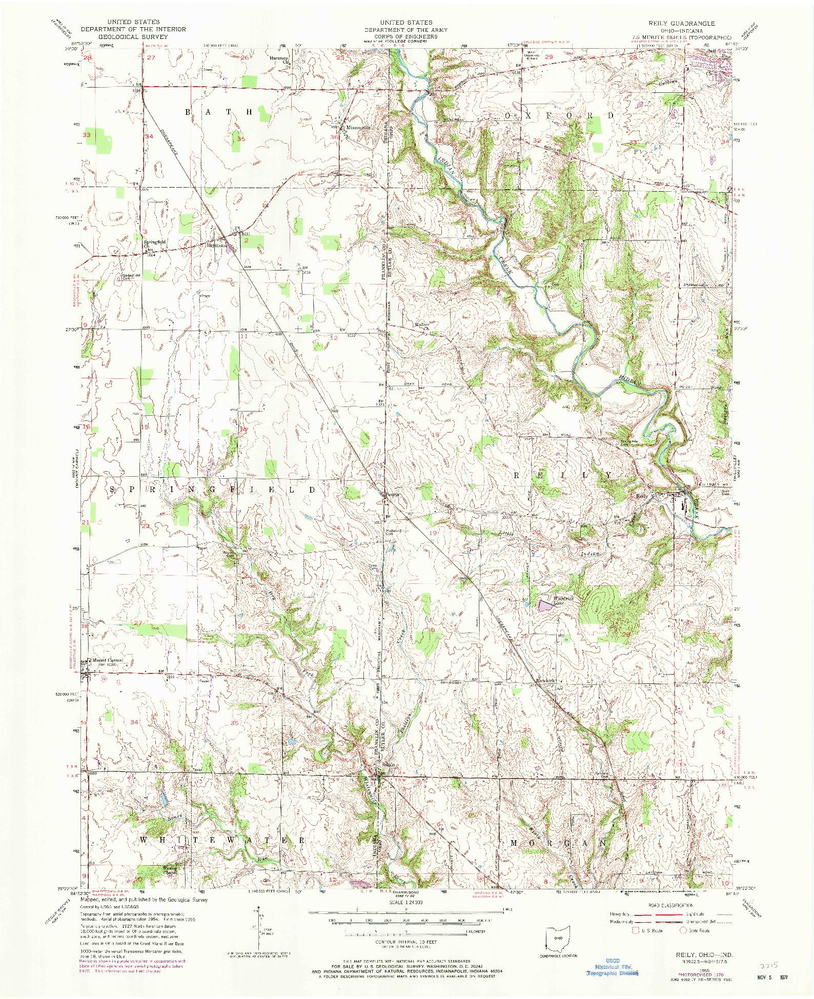 USGS 1:24000-SCALE QUADRANGLE FOR REILY, OH 1955