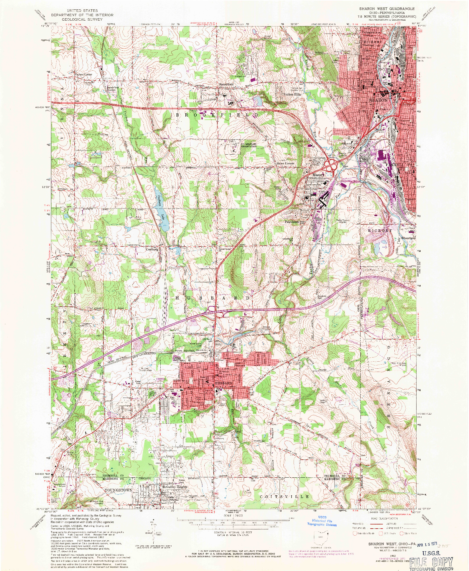 USGS 1:24000-SCALE QUADRANGLE FOR SHARON WEST, OH 1962