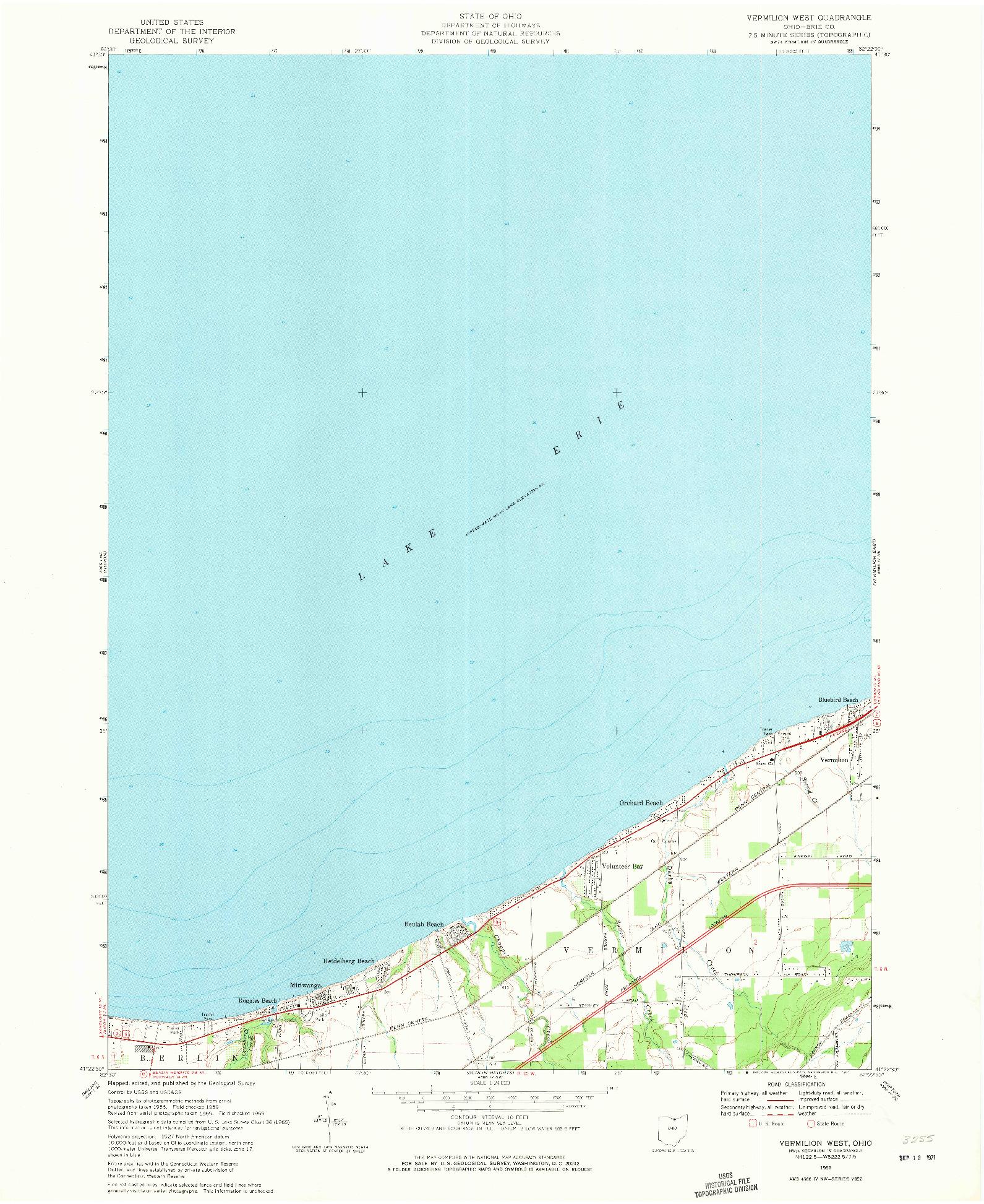 USGS 1:24000-SCALE QUADRANGLE FOR VERMILION WEST, OH 1969