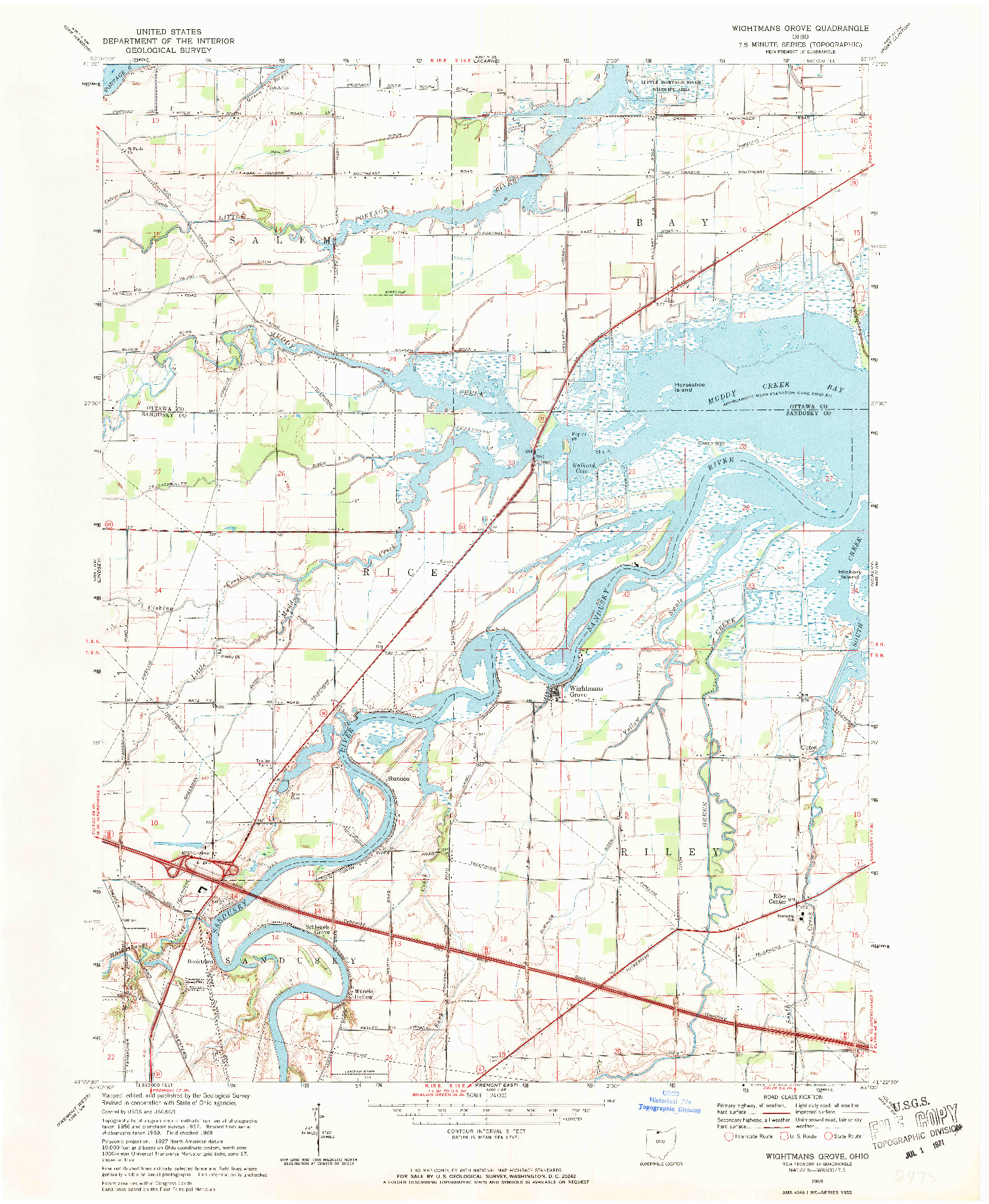 USGS 1:24000-SCALE QUADRANGLE FOR WIGHTMANS GROVE, OH 1969