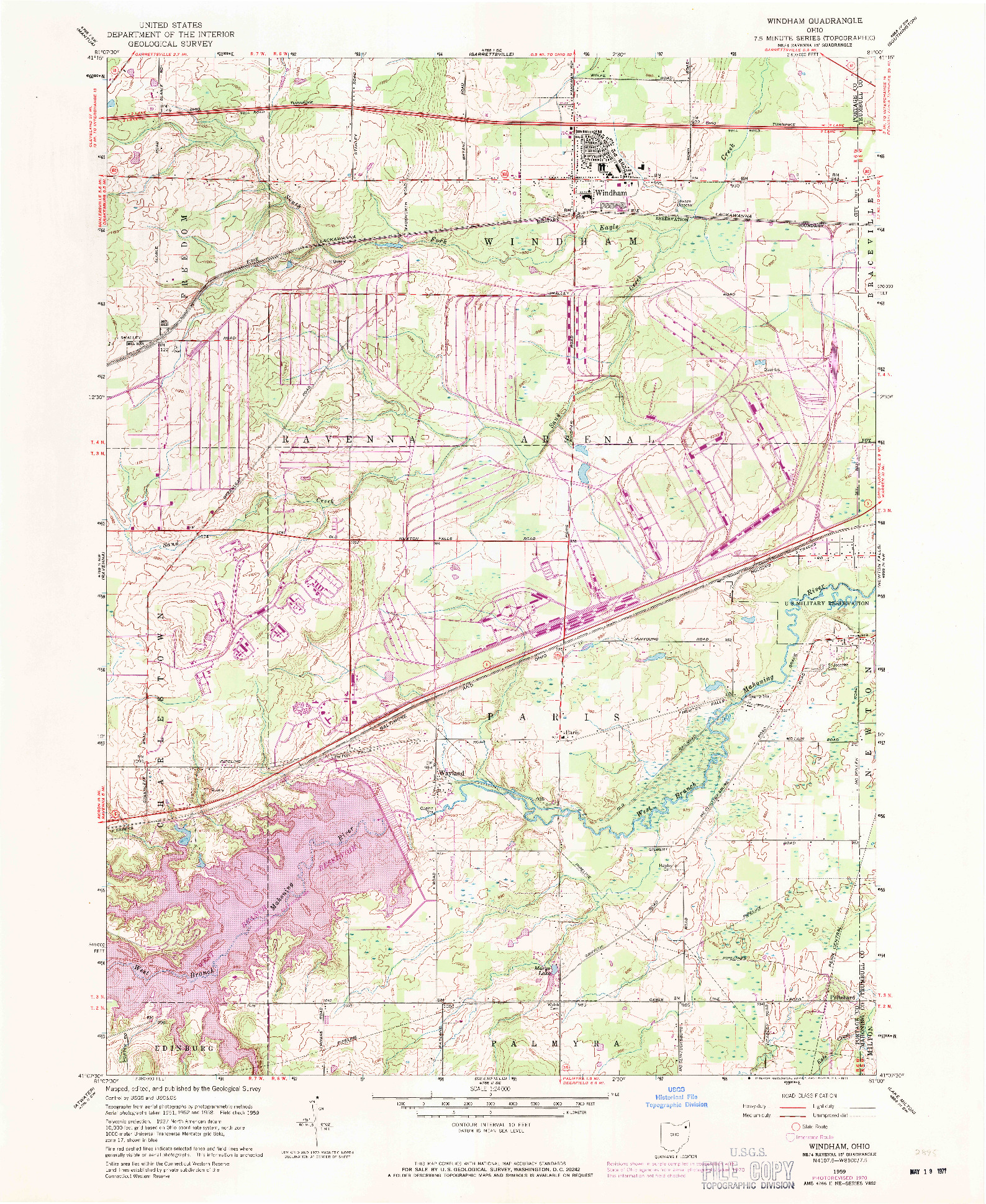 USGS 1:24000-SCALE QUADRANGLE FOR WINDHAM, OH 1959