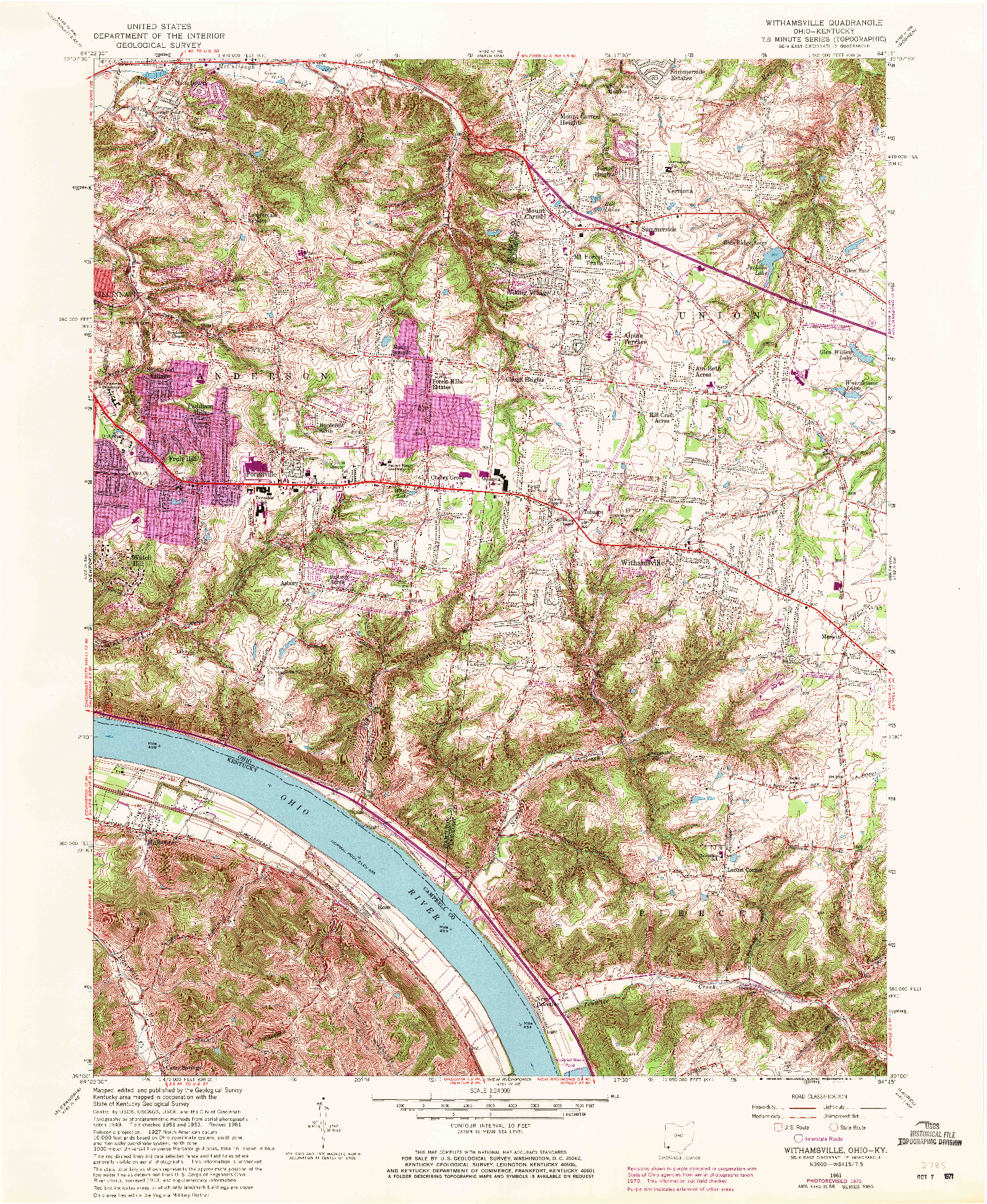 USGS 1:24000-SCALE QUADRANGLE FOR WITHAMSVILLE, OH 1961