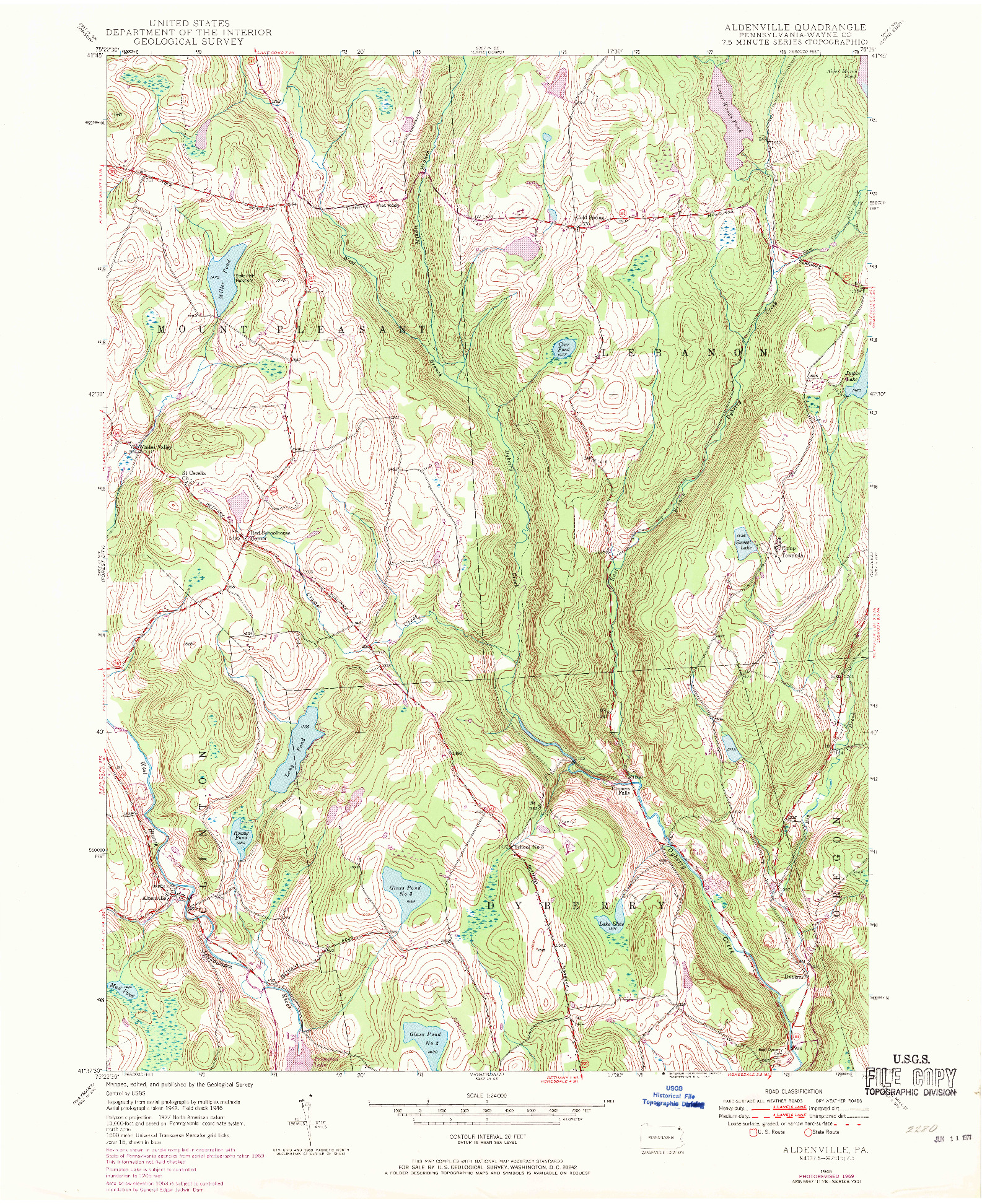 USGS 1:24000-SCALE QUADRANGLE FOR ALDENVILLE, PA 1946